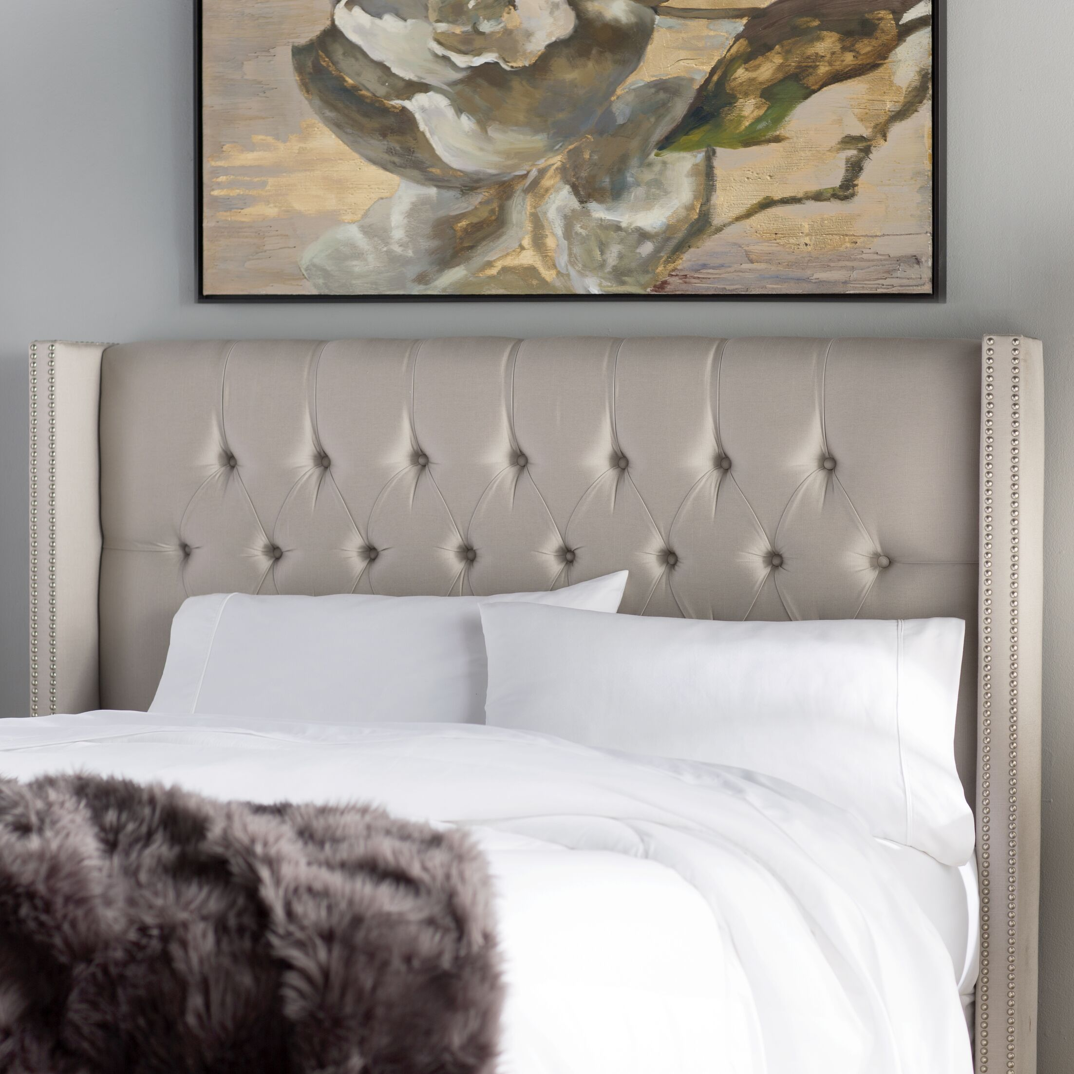 Fitzroy Diamond Upholstered Wingback Headboard Size: Queen, Upholstery: Dove