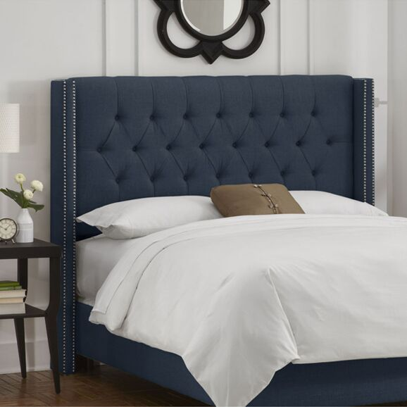 Socorro Upholstered Wingback Headboard Size: Queen, Upholstery: Navy