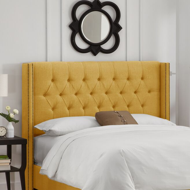 Socorro Upholstered Wingback Headboard Size: King, Upholstery: French Yellow