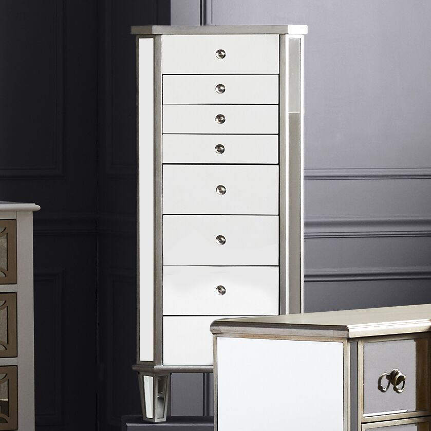 Hampstead Jewelry Armoire with Flip Top Mirror Color: Antique Silver