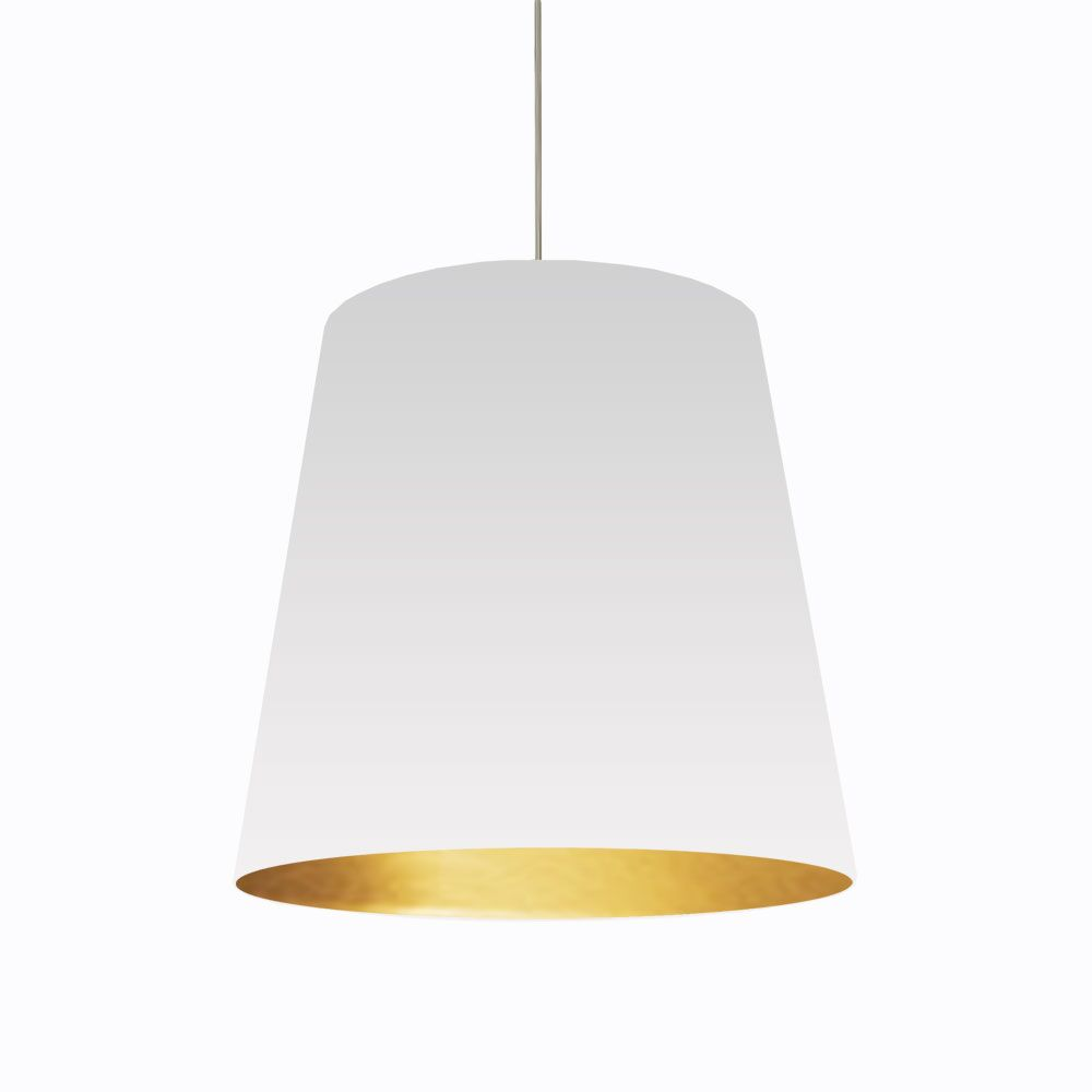 Jenkins 1-Light Cone Pendant Shade Color: White on Gold, Size: 26