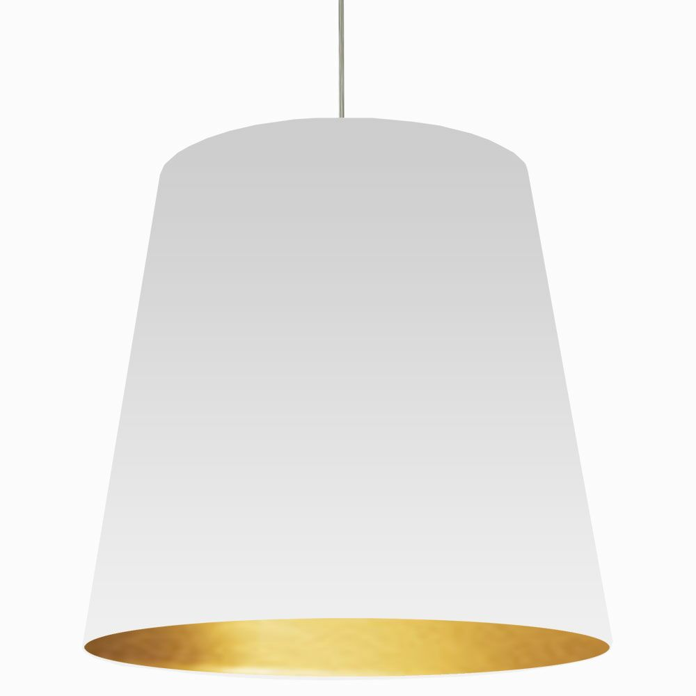 Jenkins 1-Light Cone Pendant Shade Color: White on Gold, Size: 32