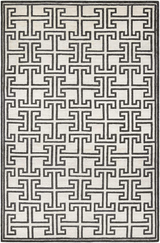 Bridlington Hand-Crafted Off White/Smoke Area Rug Rug Size: Rectangle 3'6