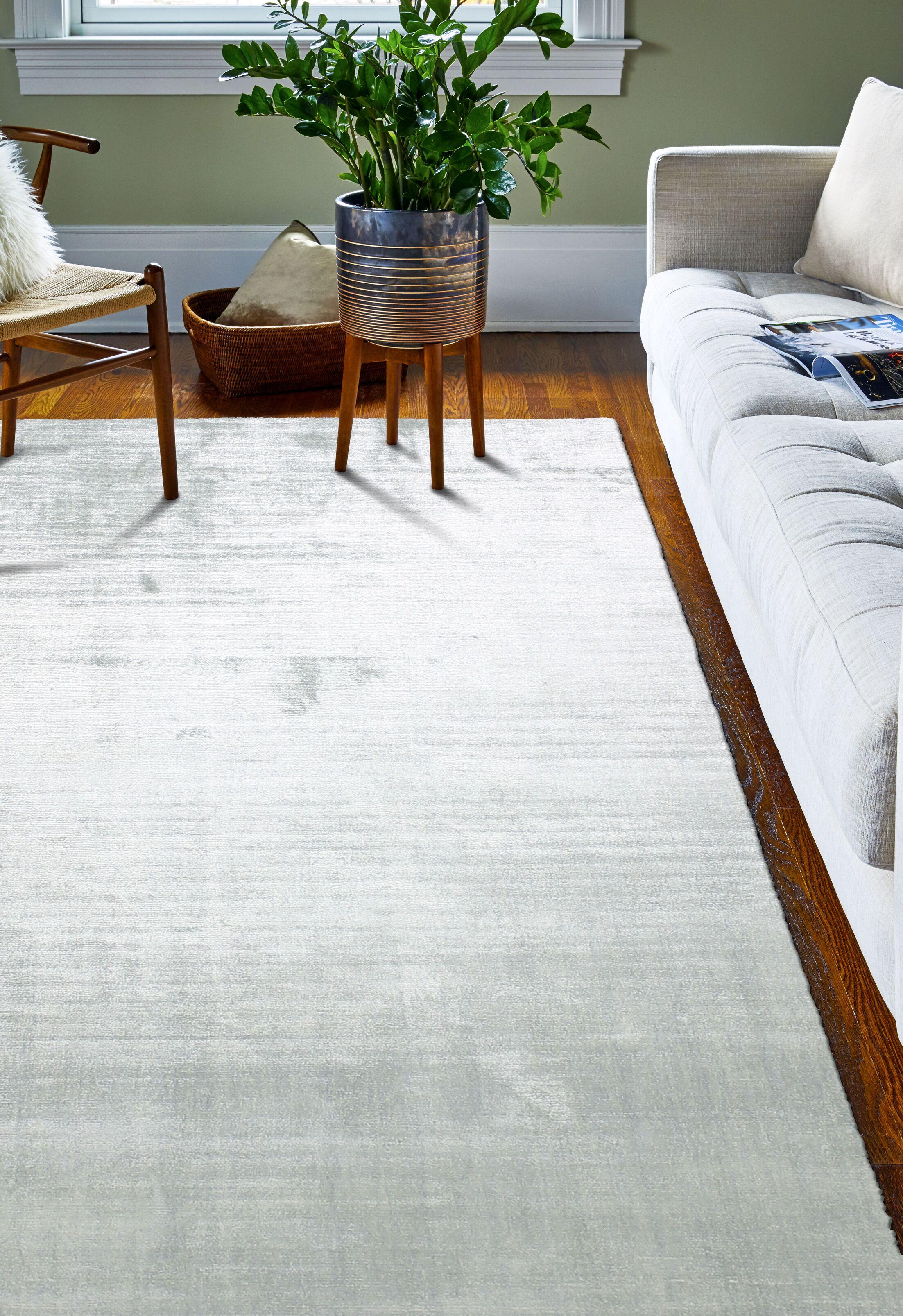Mundo Hand Woven Silk Seafoam Area Rug Rug Size: 7'9