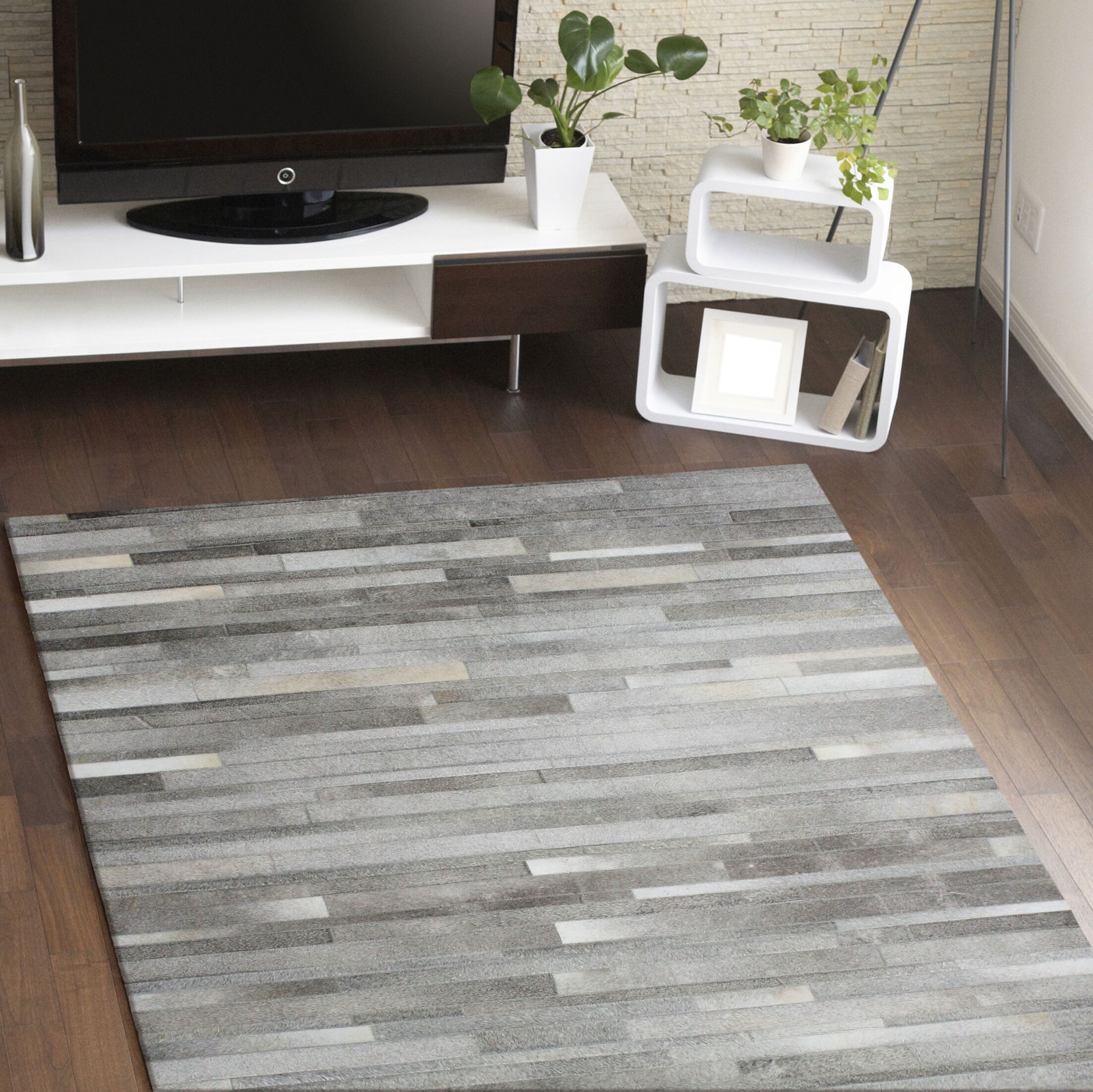 Berdina Hand Woven Gray/Silver Area Rug Rug Size: Rectangle 4' x 6'