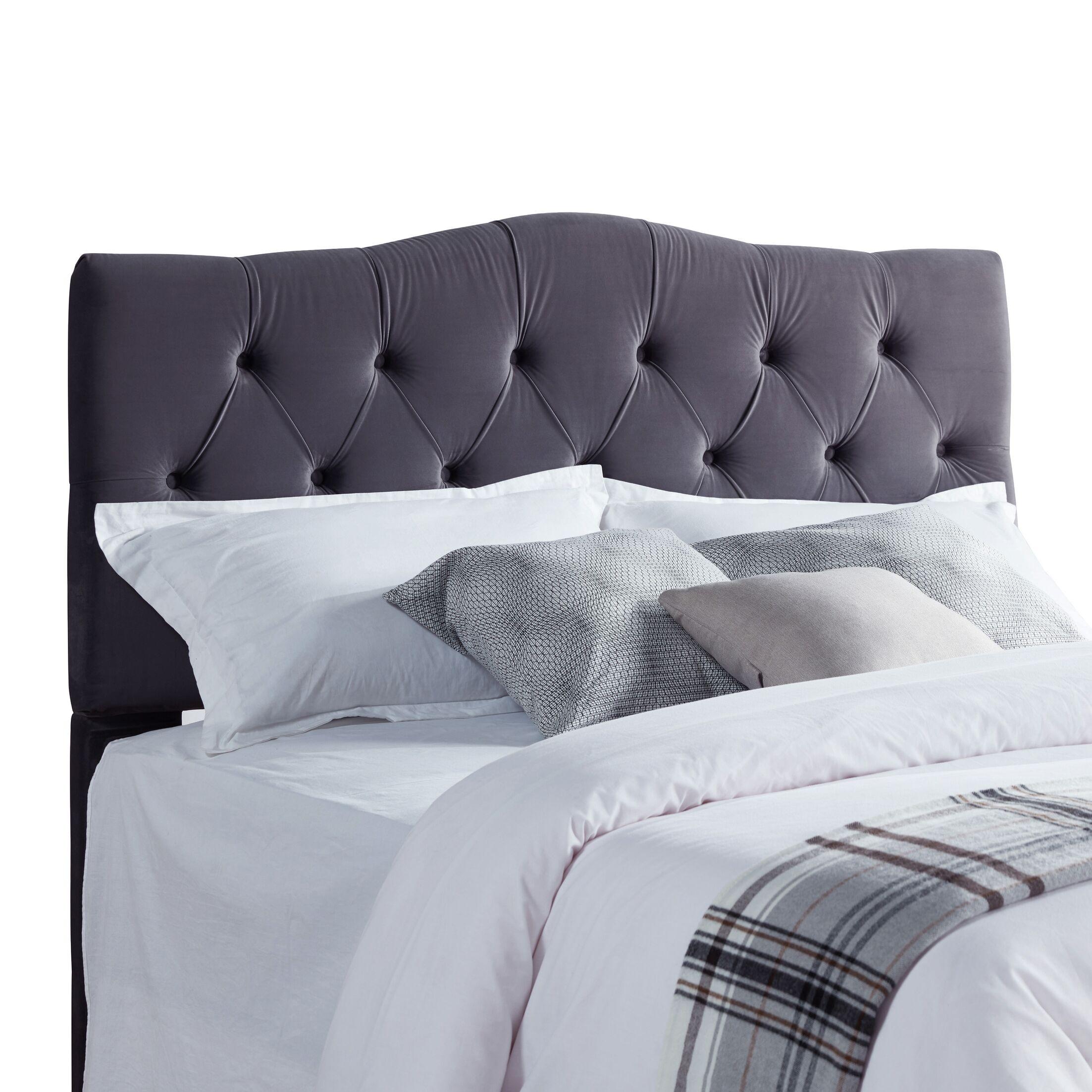 Seo Upholstered Panel Headboard Upholstery: Gray Velvet, Size: King/California King