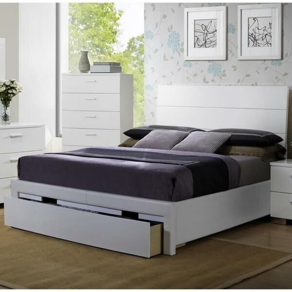 Swanky Wooden Storage Panel Bed