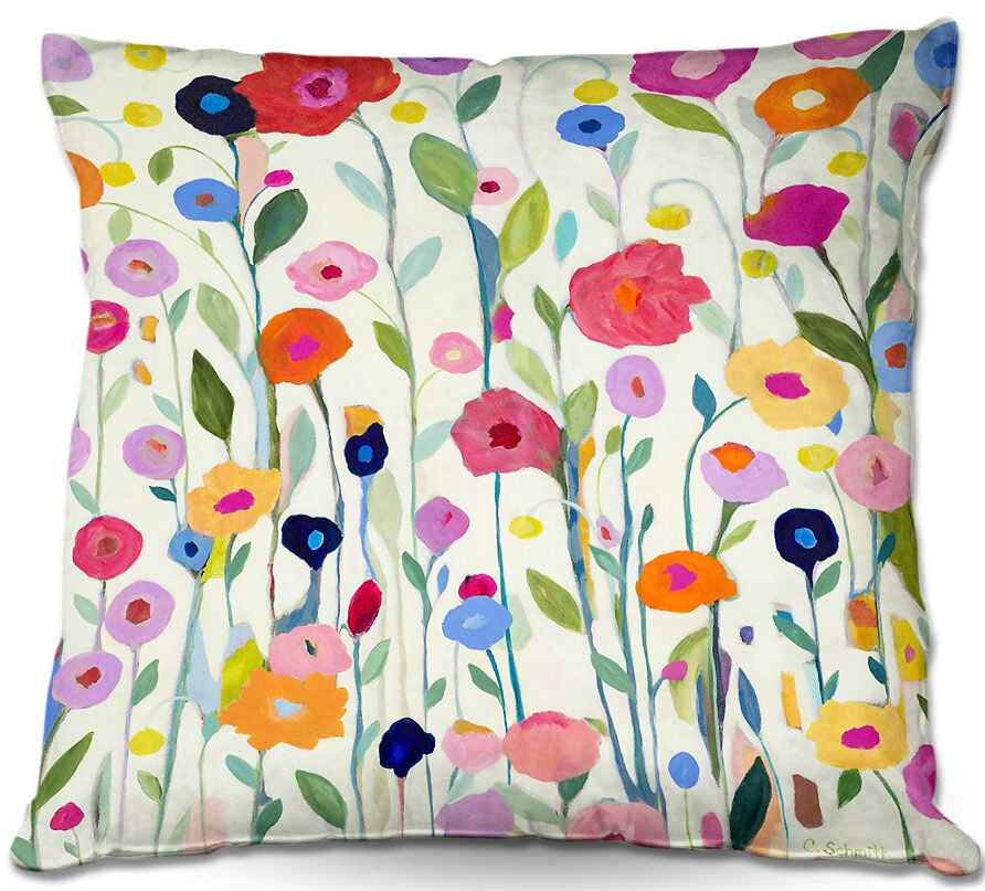 Flowers Throw Pillow Size: 16