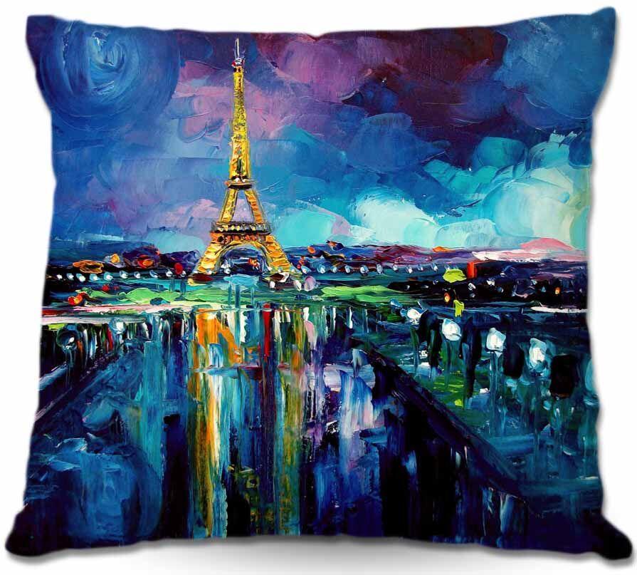 Parisian Night Eiffel Tower Throw Pillow Size: 20