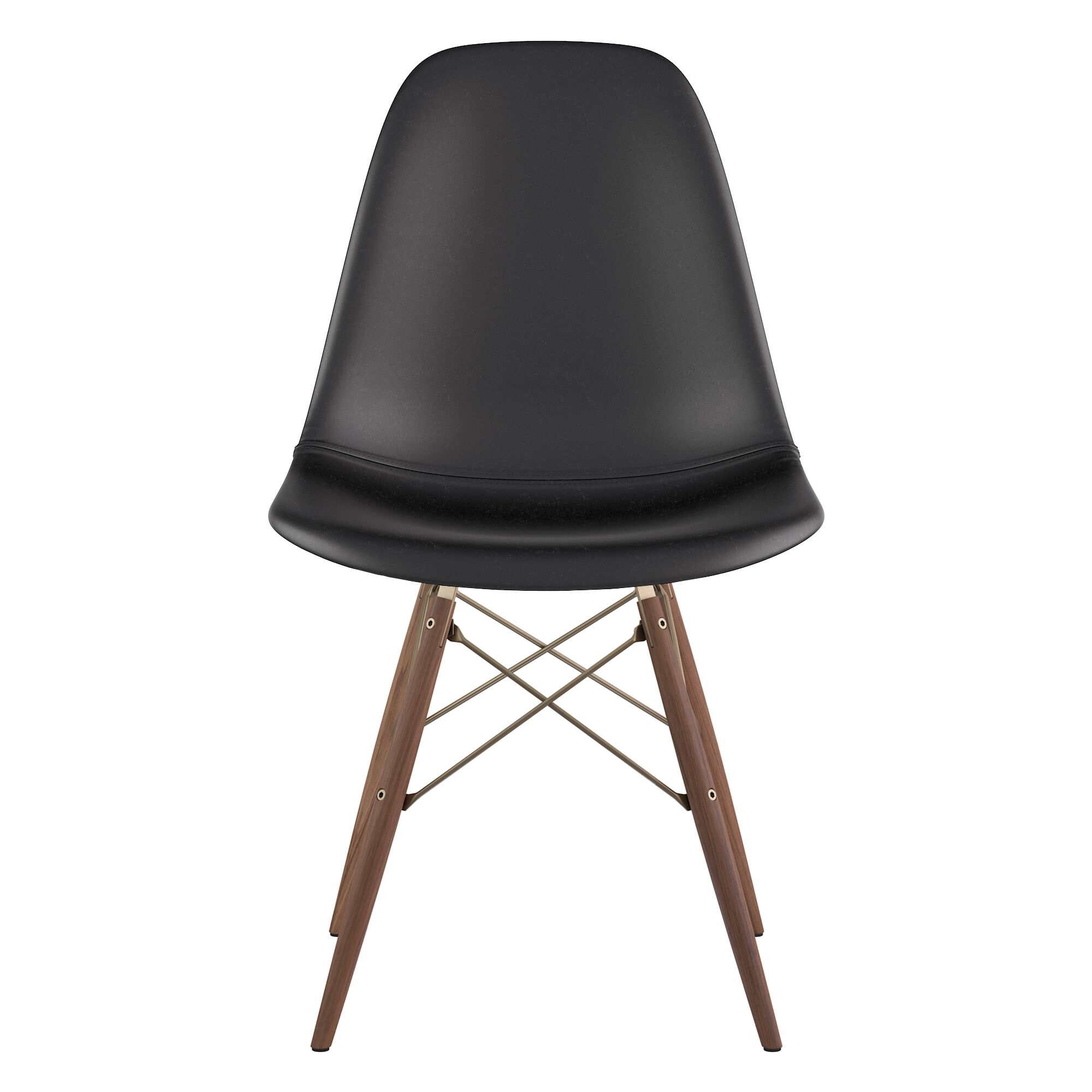 Dowel Genuine Leather Upholstered Dining Chair Upholstery: Milano Black, Finish: Walnut