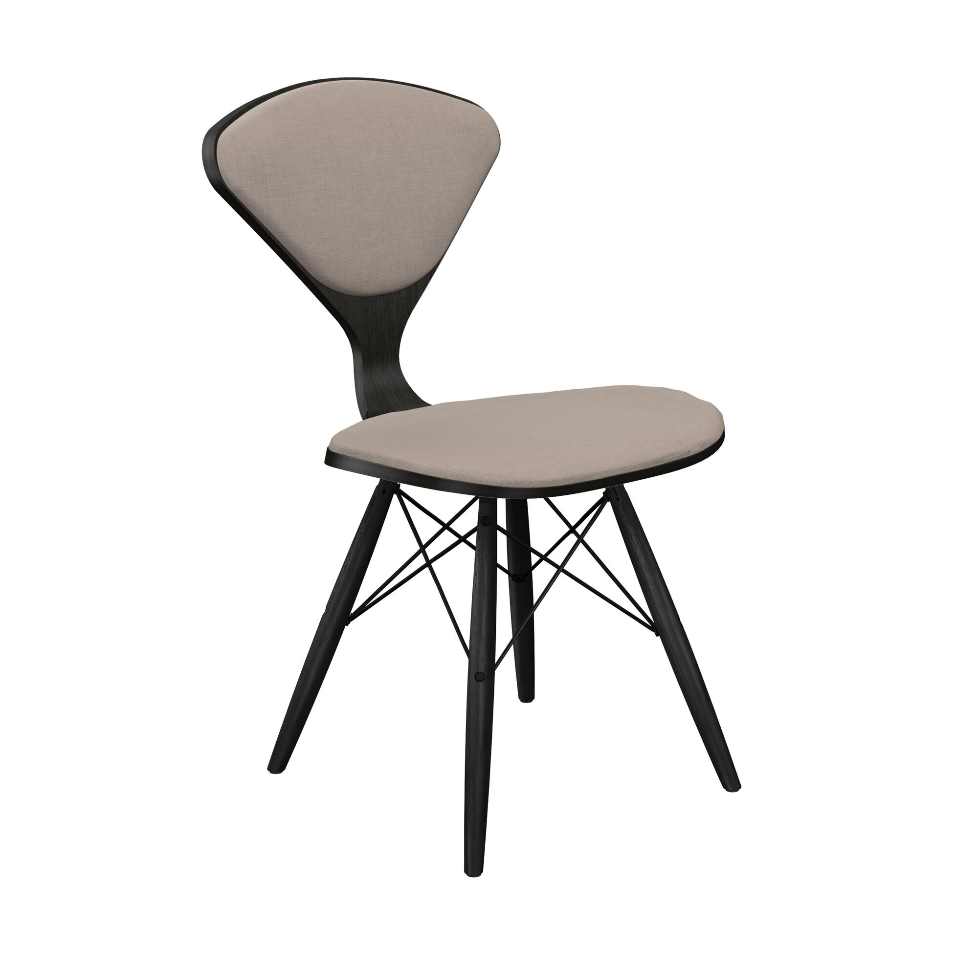 Tynan Dining Chair Frame Color: Black/Black, Upholstery Color: Light Warm Gray
