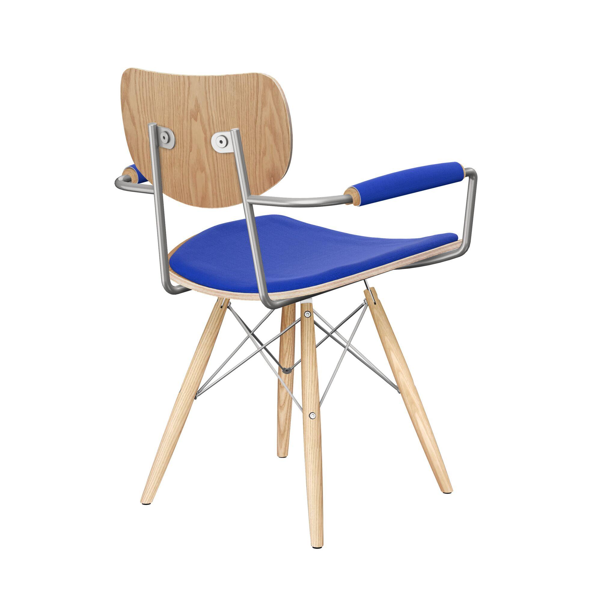 Bastow Upholstered Dining Chair Upholstery Color: Vibrant Dark Blue, Leg Color: Natural, Frame Color: Natural