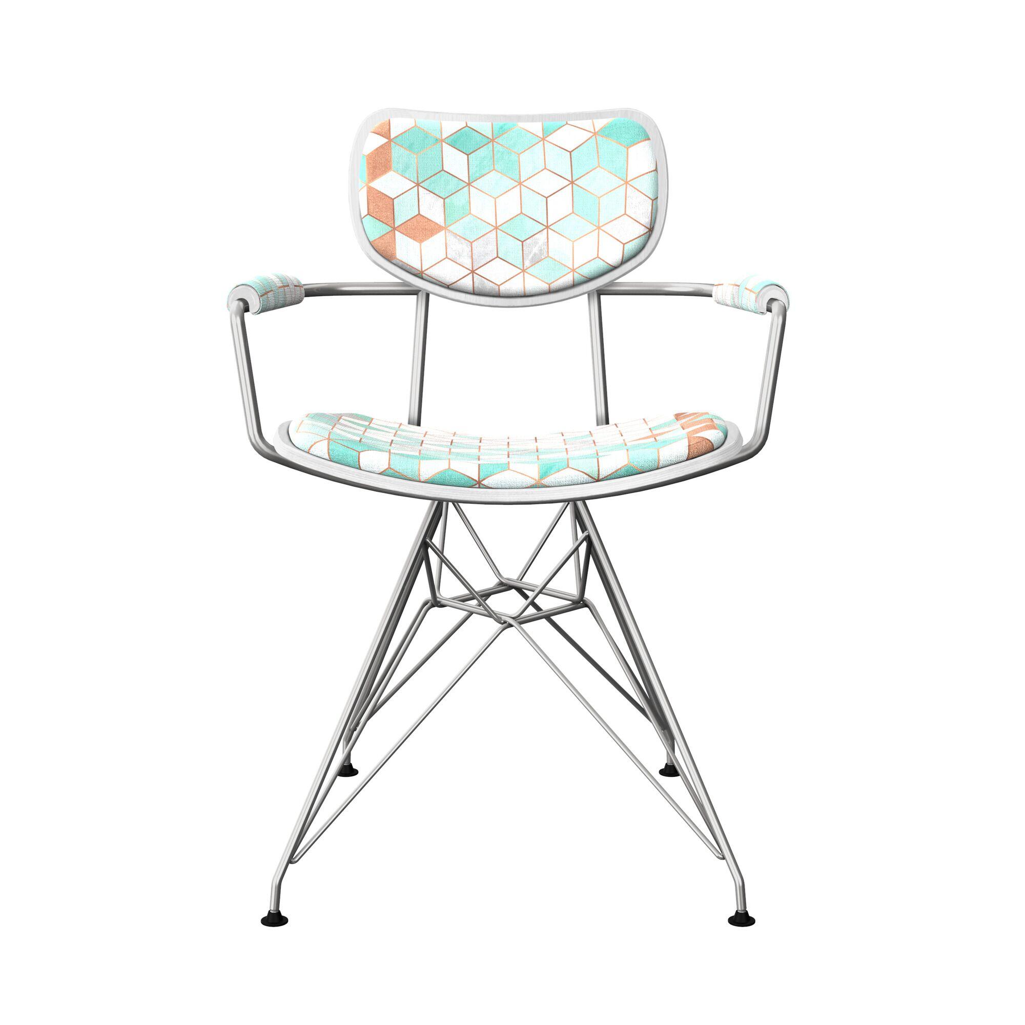 Basden Upholstered Dining Chair Leg Color: Chrome, Frame Color: White