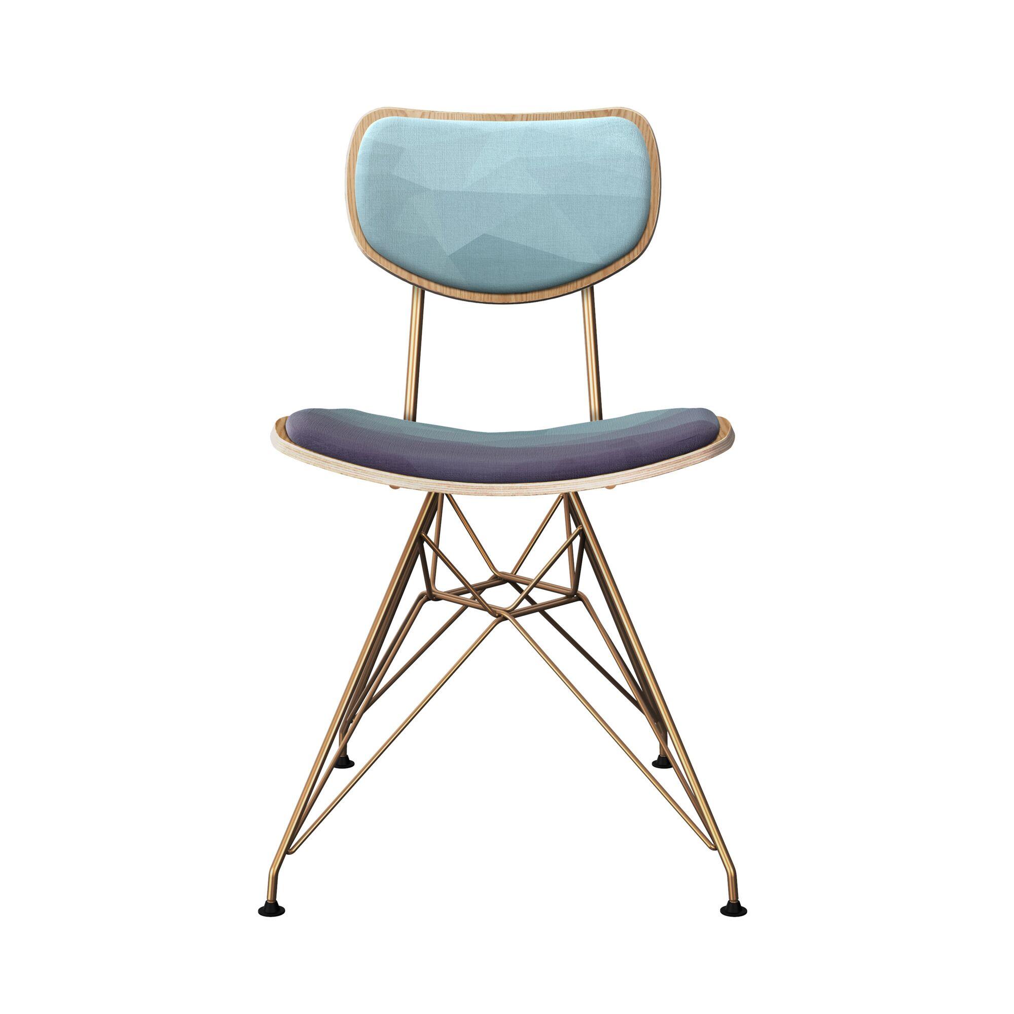 Crendon Upholstered Dining Chair Leg Color: Brass, Frame Color: Natural