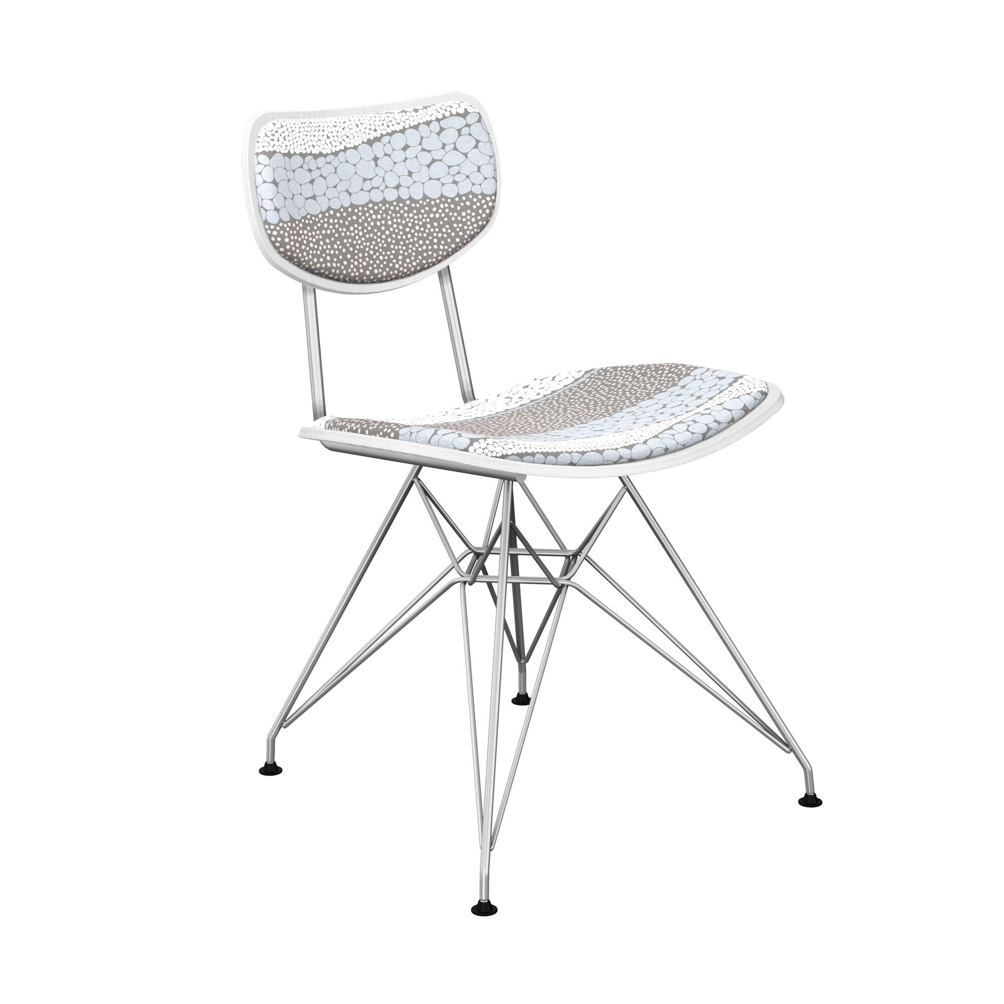 Crown Point Upholstered Dining Chair Leg Color: Chrome, Frame Color: White