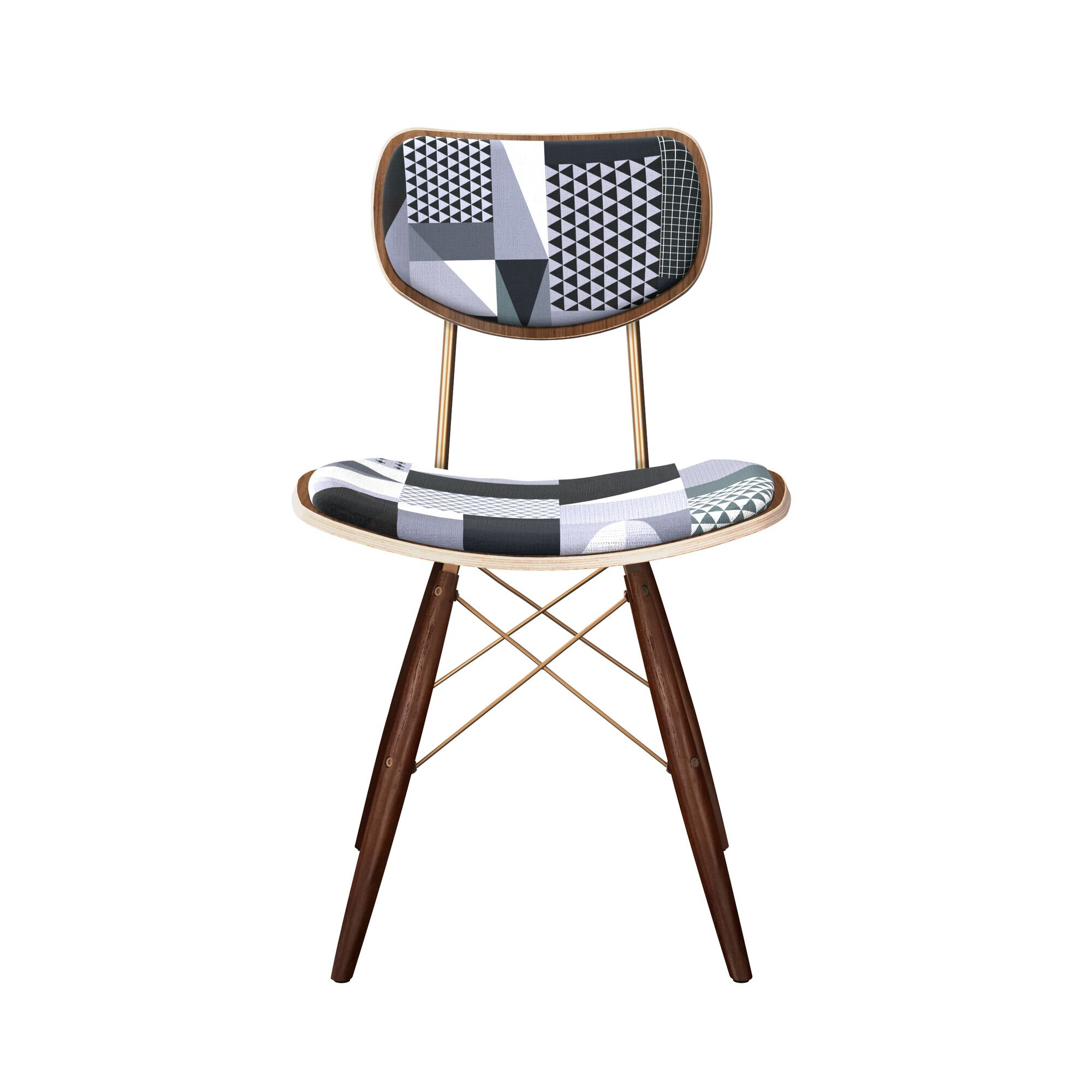 Clennell Upholstered Dining Chair Leg Color: Brass, Frame Color: Walnut
