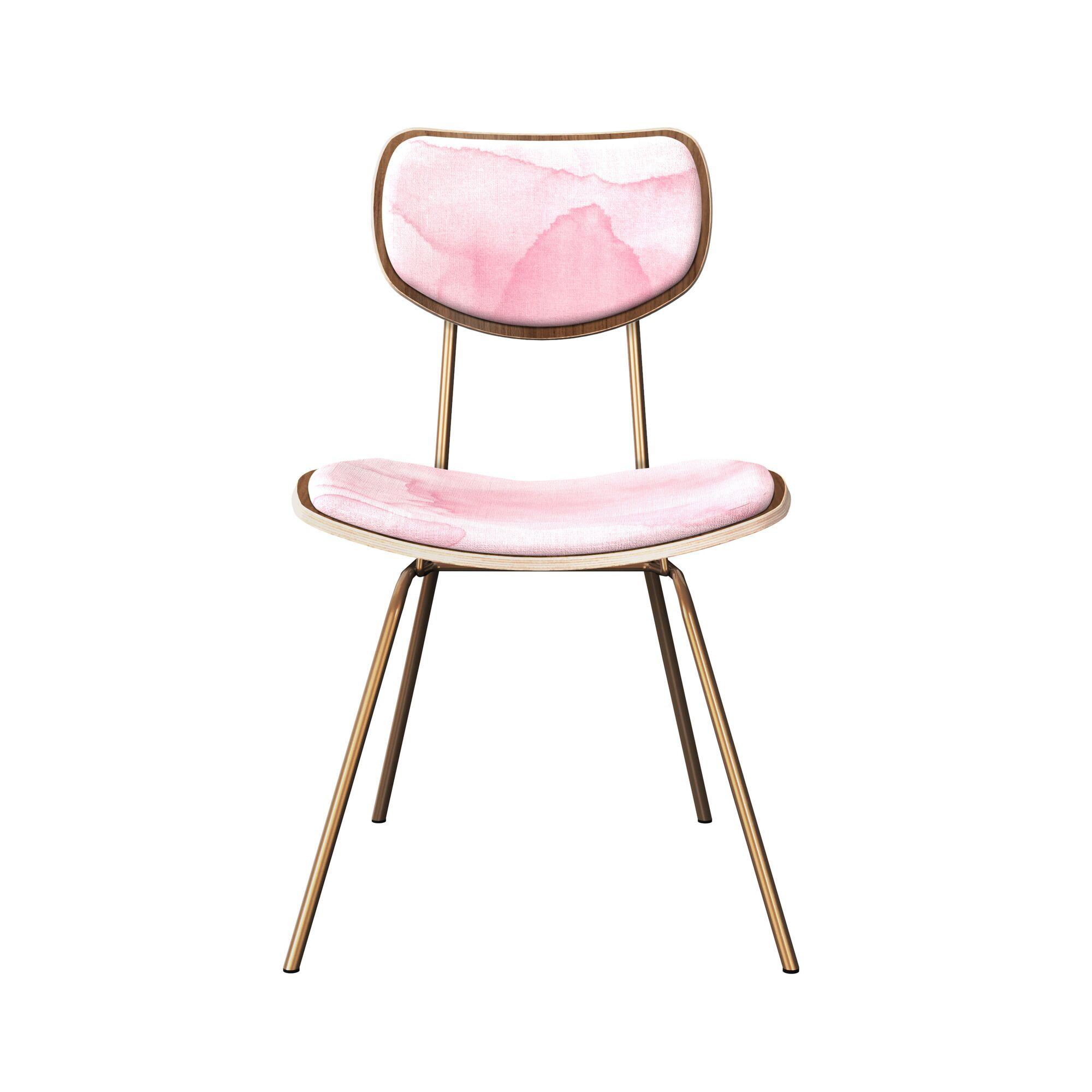 Dodsworth Upholstered Dining Chair Leg Color: Brass, Frame Color: Walnut