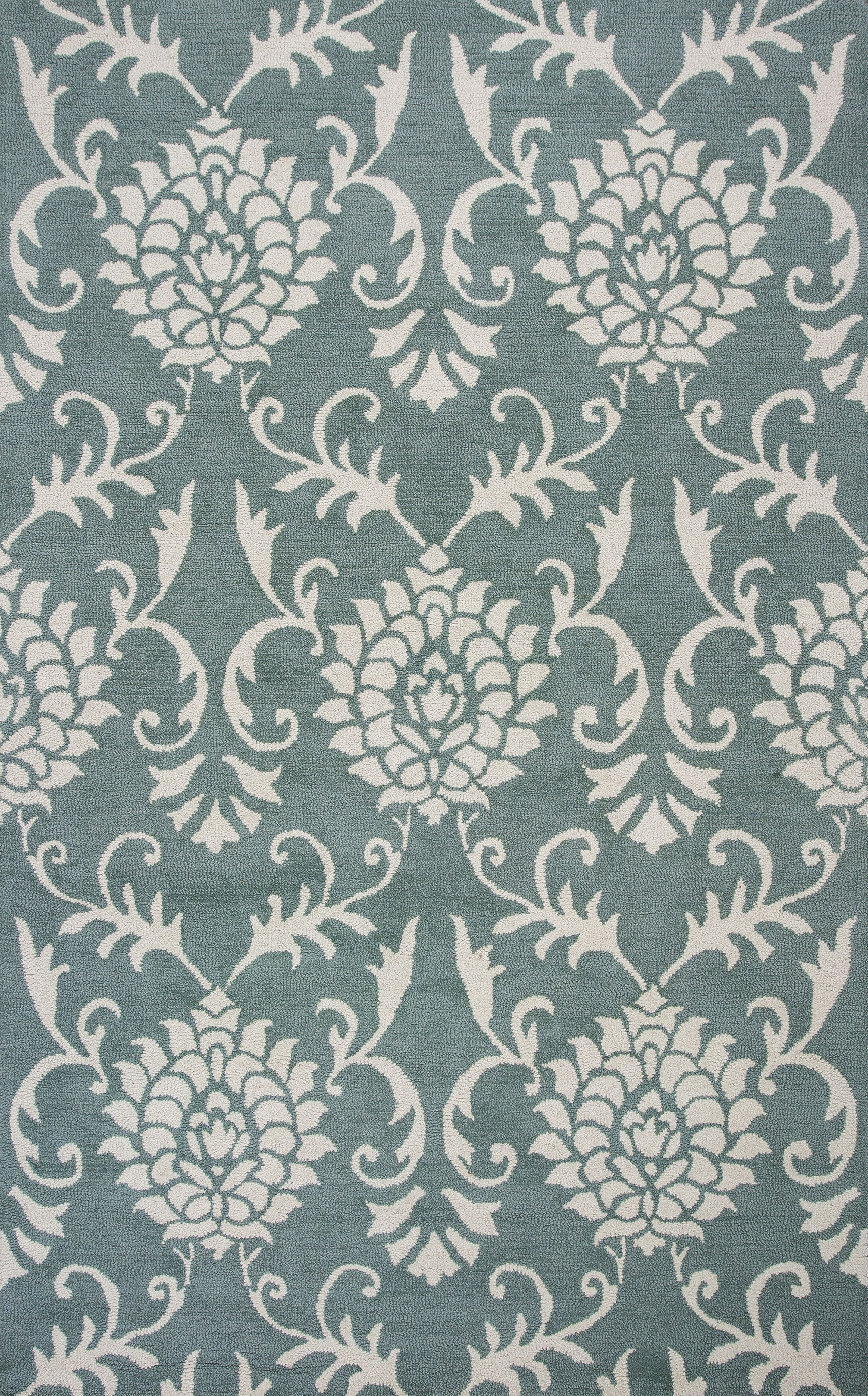 Garrettsville Hand-Hooked Seafoam/Ivory Area Rug Rug Size: Rectangle 5' x 7'