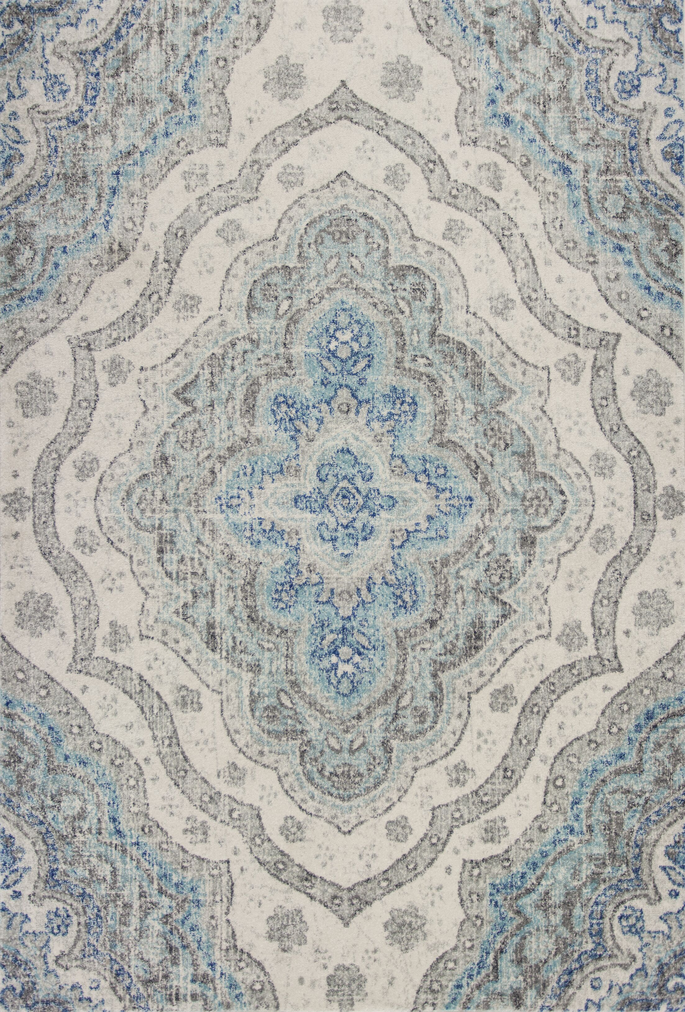 Curtice Gray/Blue Layla Area Rug Rug Size: Rectangle 7'10