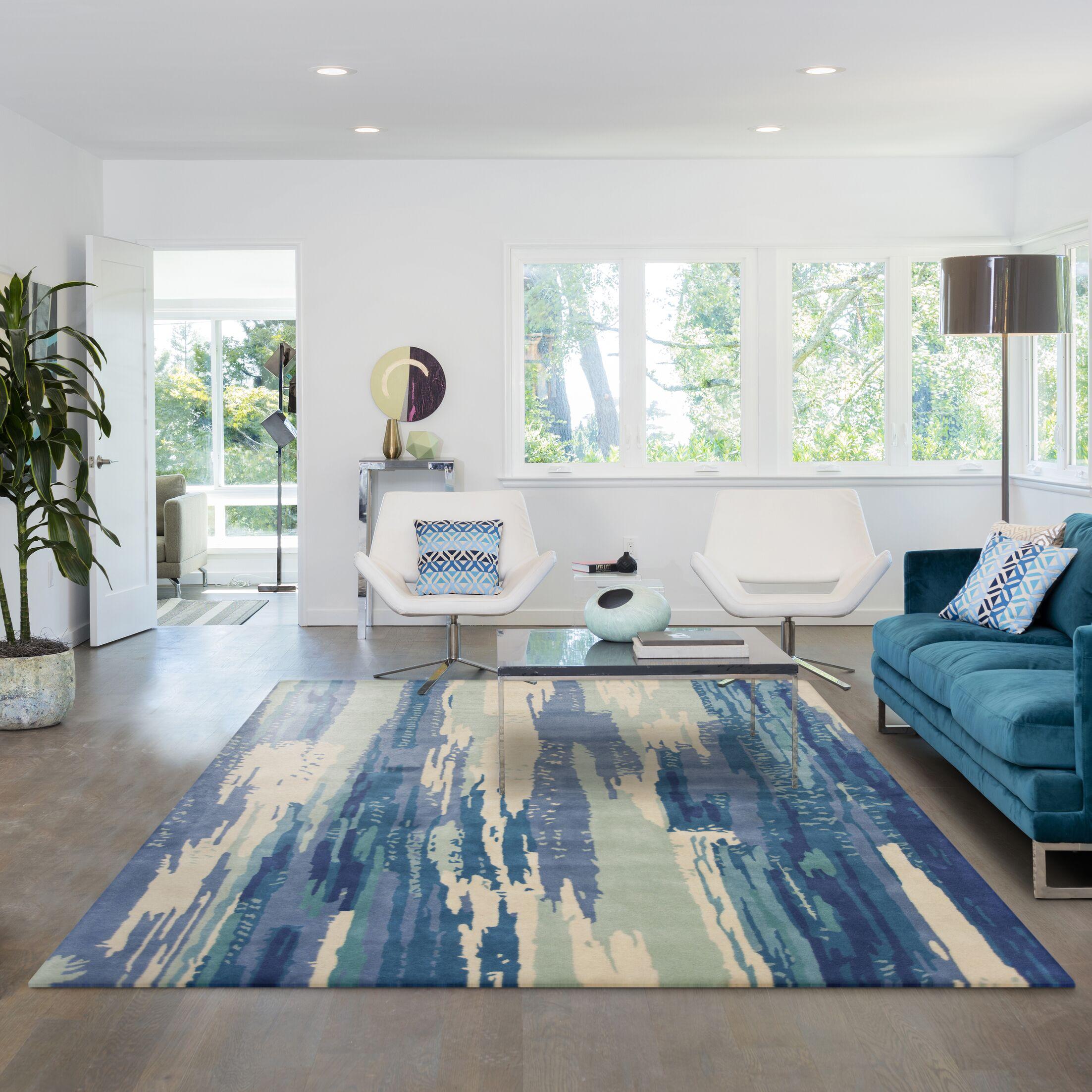 Bernardine Hand-tufted Wool Ivory/Blue Area Rug Rug Size: Rectangle 9' x 13'