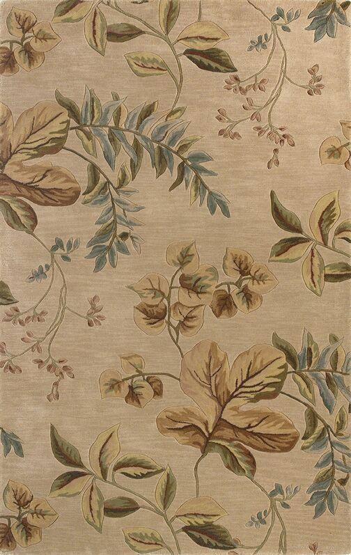 Shirlene Hand-Tufted Wool Ivory Folia Area Rug