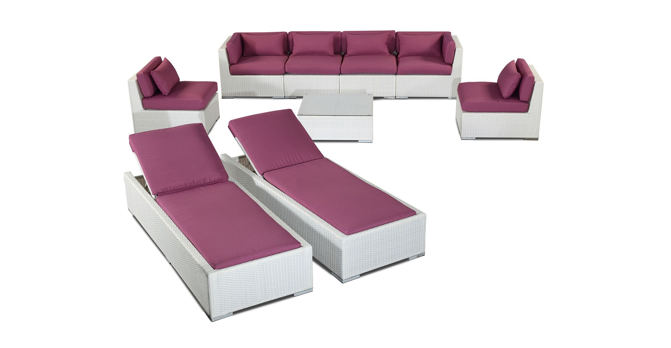 Maui 9 Piece Sectional Set with Cushions Fabric: Orchid, Color: White