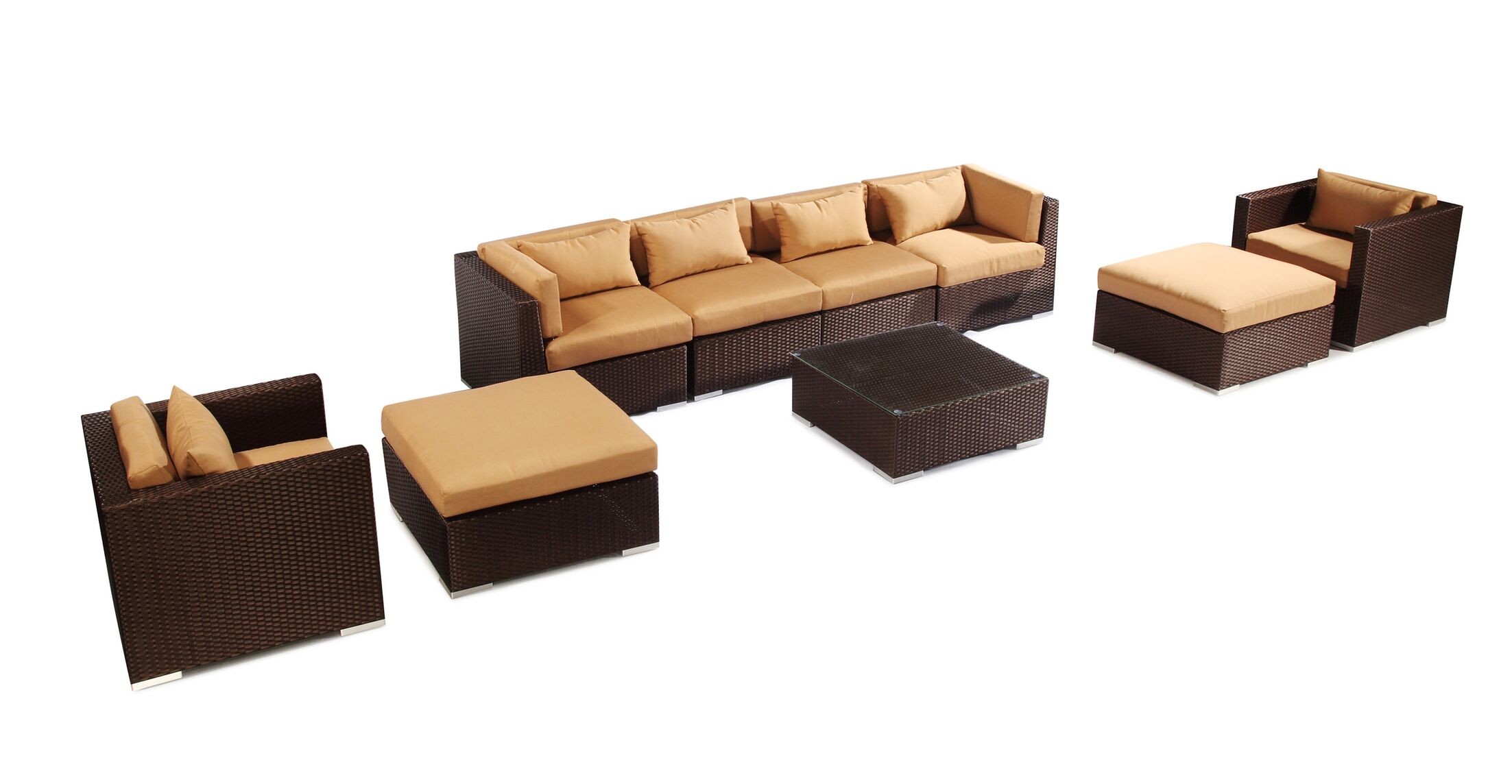 Kauai 9 Piece Sectional Set with Cushions Fabric: Taupe, Color: Brown