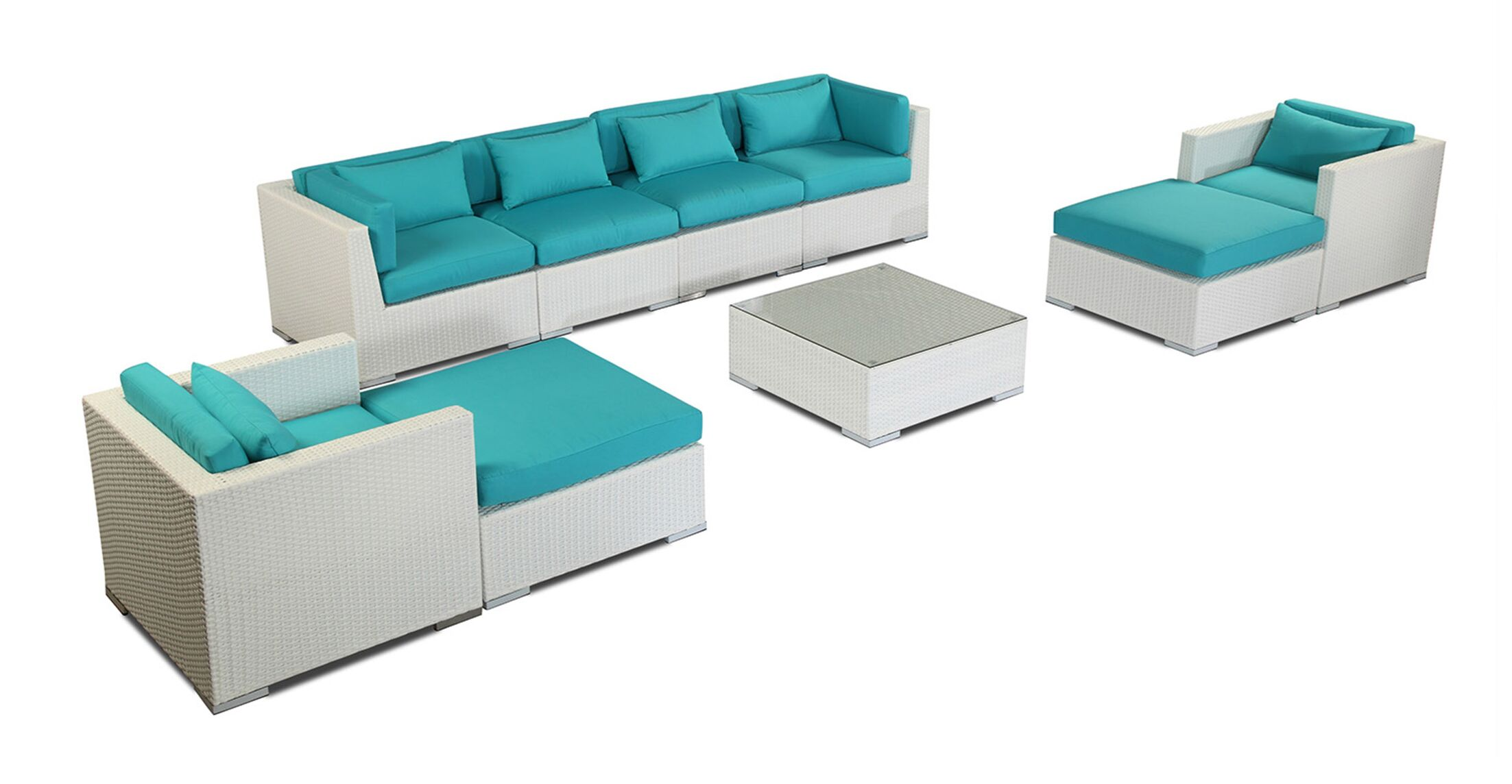 Kauai 9 Piece Sectional Set with Cushions Fabric: Turquoise, Color: White