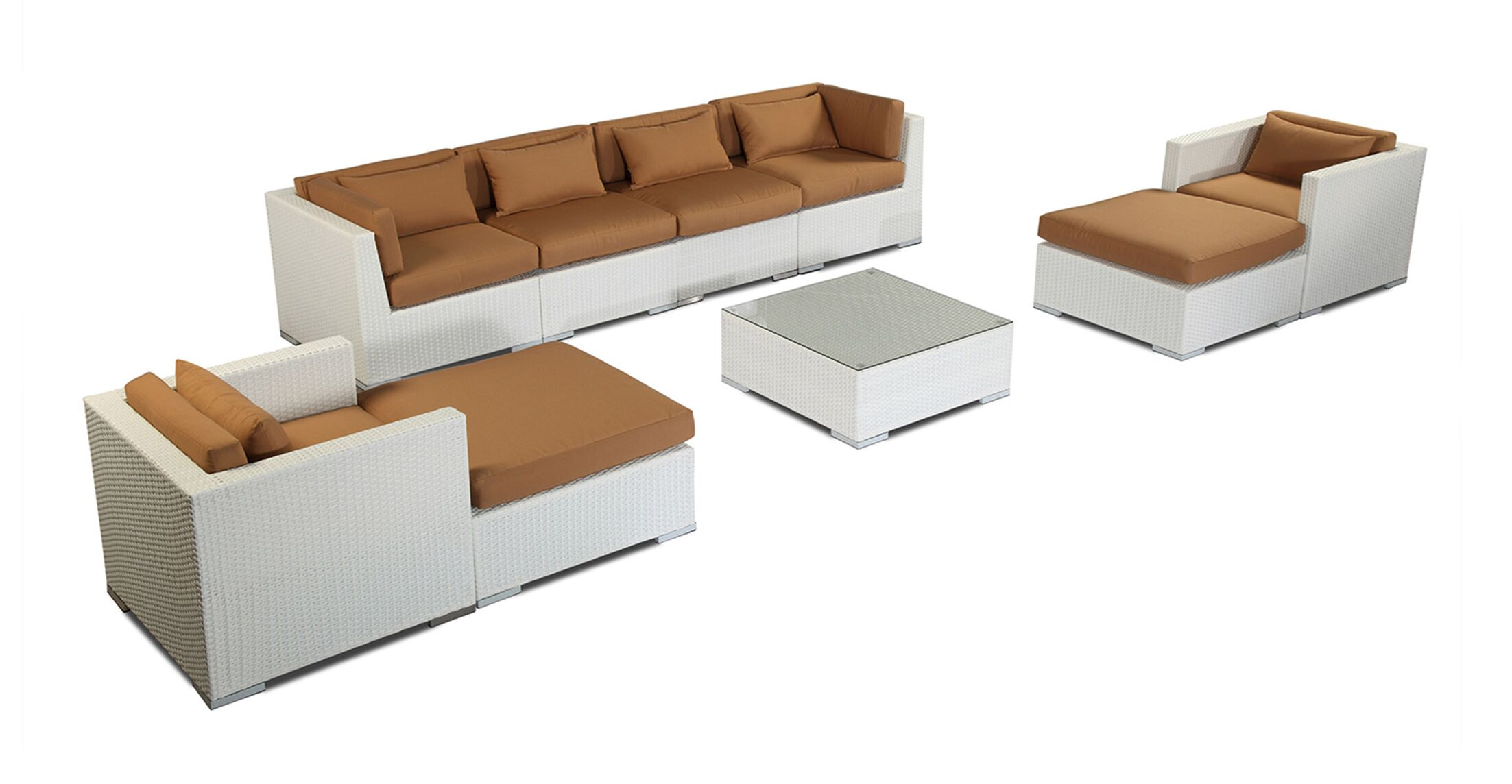 Kauai 9 Piece Sectional Set with Cushions Fabric: Taupe, Color: White