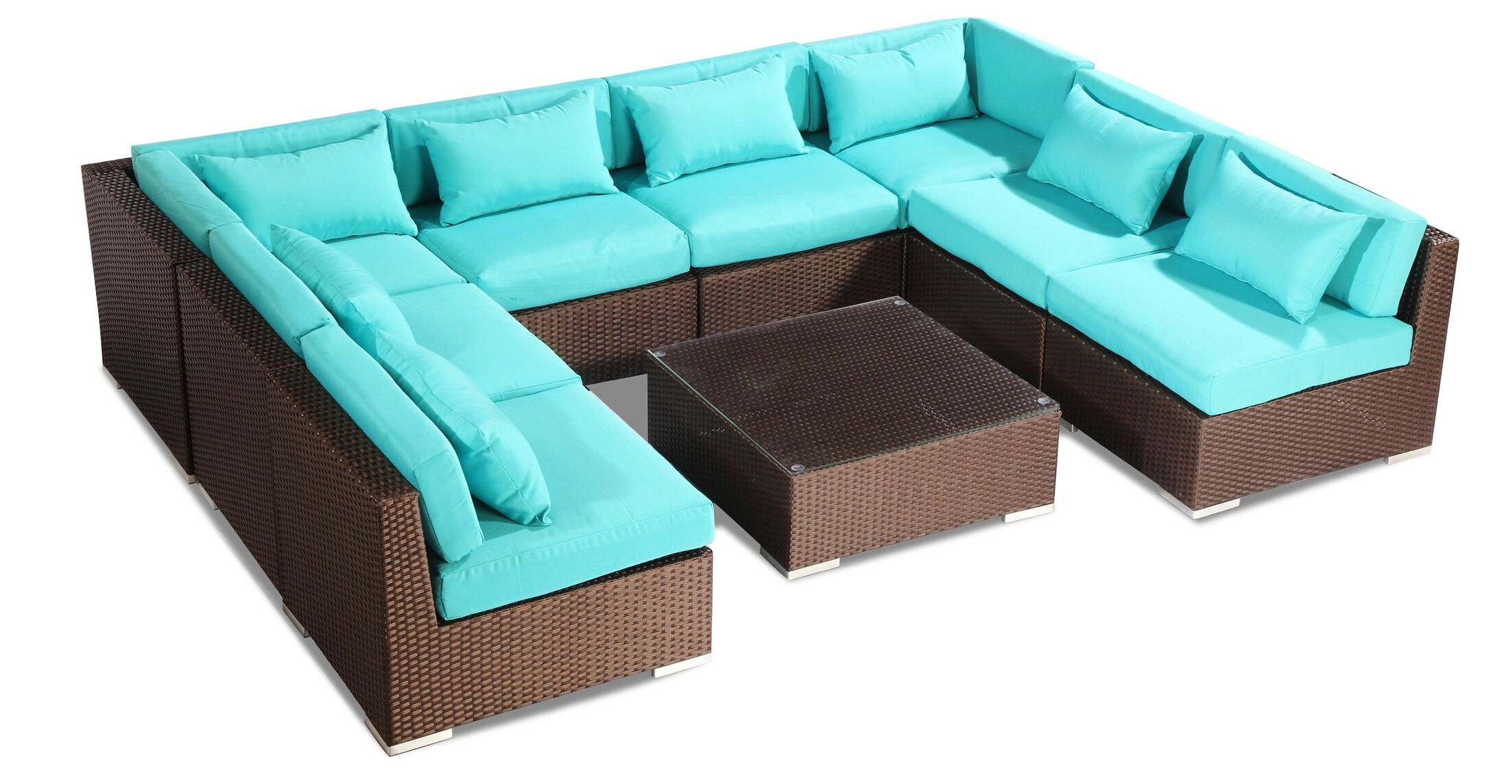 Oahu 9 Piece Sectional Set with Cushions Fabric: Turquoise, Color: Brown
