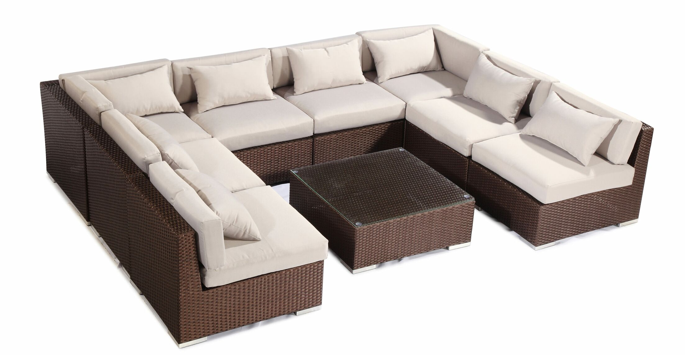 Oahu 9 Piece Sectional Set with Cushions Fabric: Grey, Color: Brown