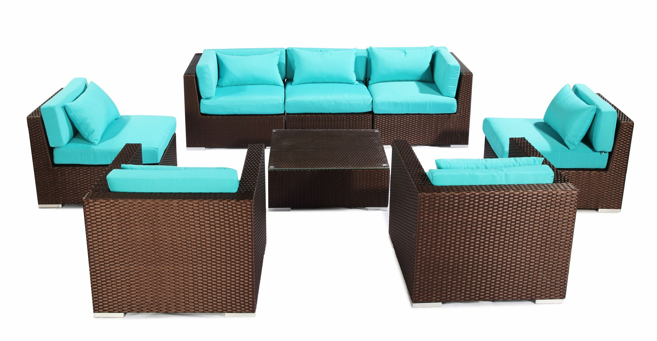 Molokai 8 Piece Sectional Set with Cushions Fabric: Turquoise, Color: Brown