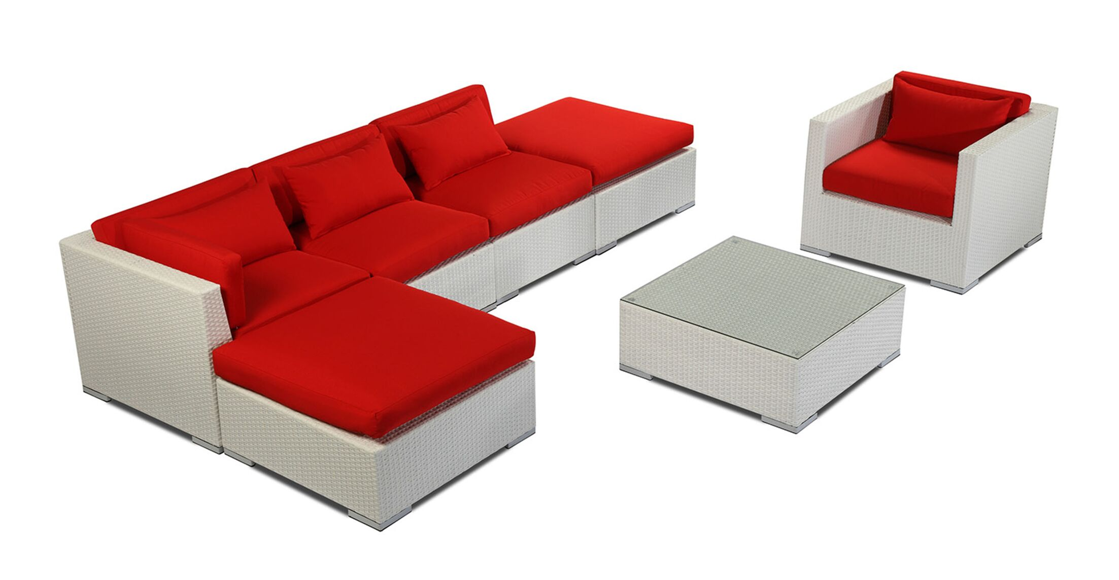 Lanai 7 Piece Sectional Set with Cushions Fabric: Red, Color: White
