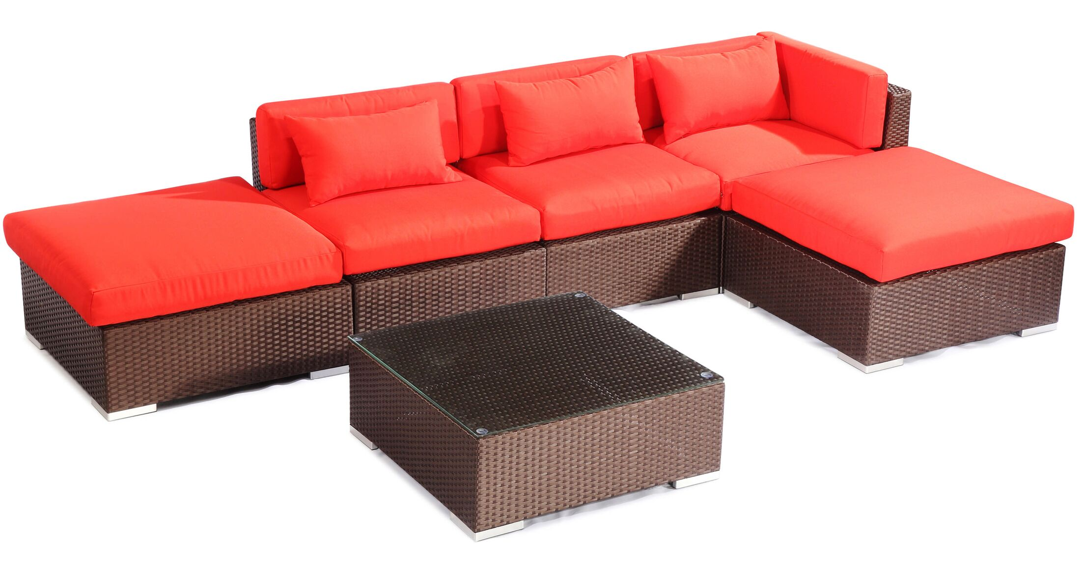 Poipu 6 Piece Sectional Set with Cushions Fabric: Red, Color: Brown