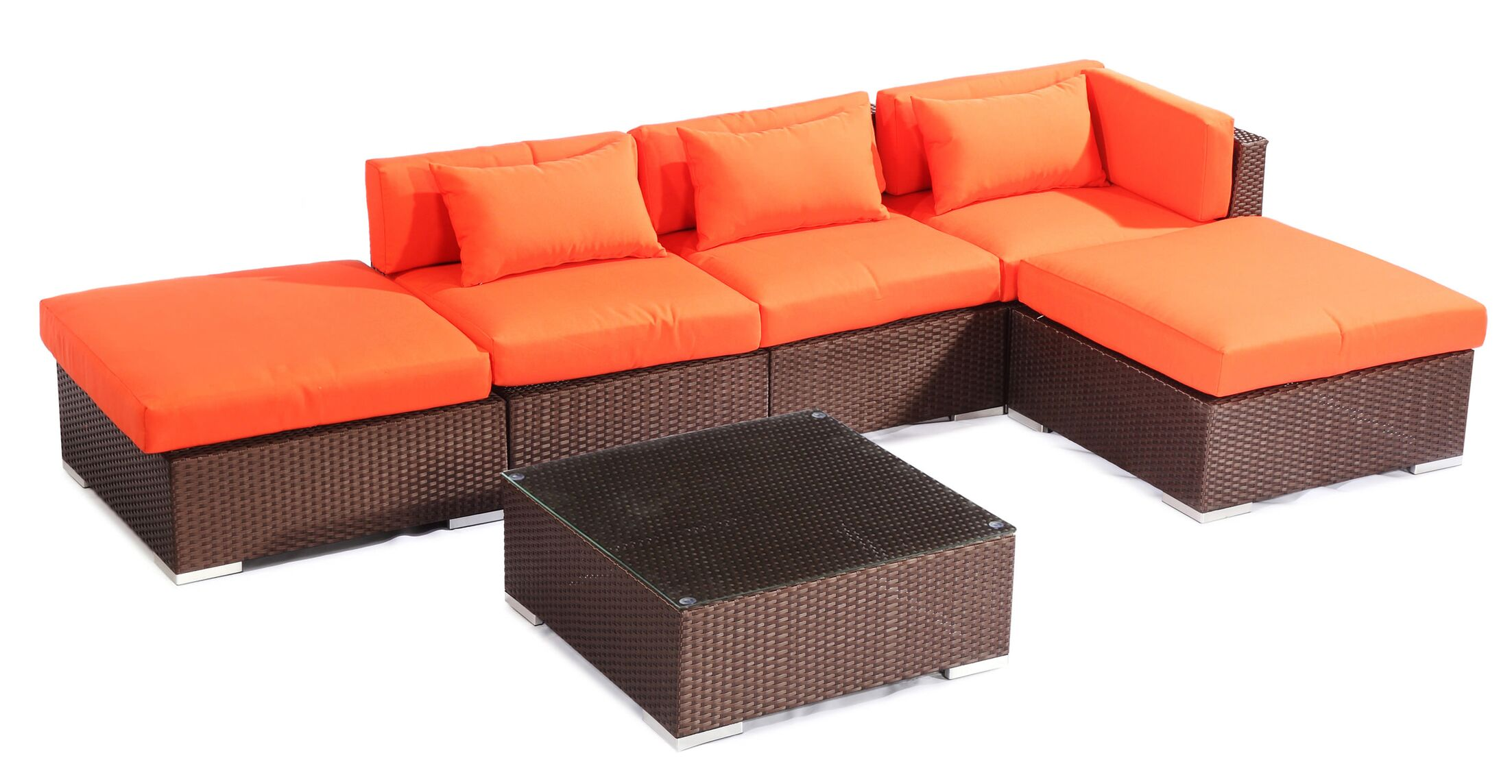 Poipu 6 Piece Sectional Set with Cushions Fabric: Orange, Color: Brown