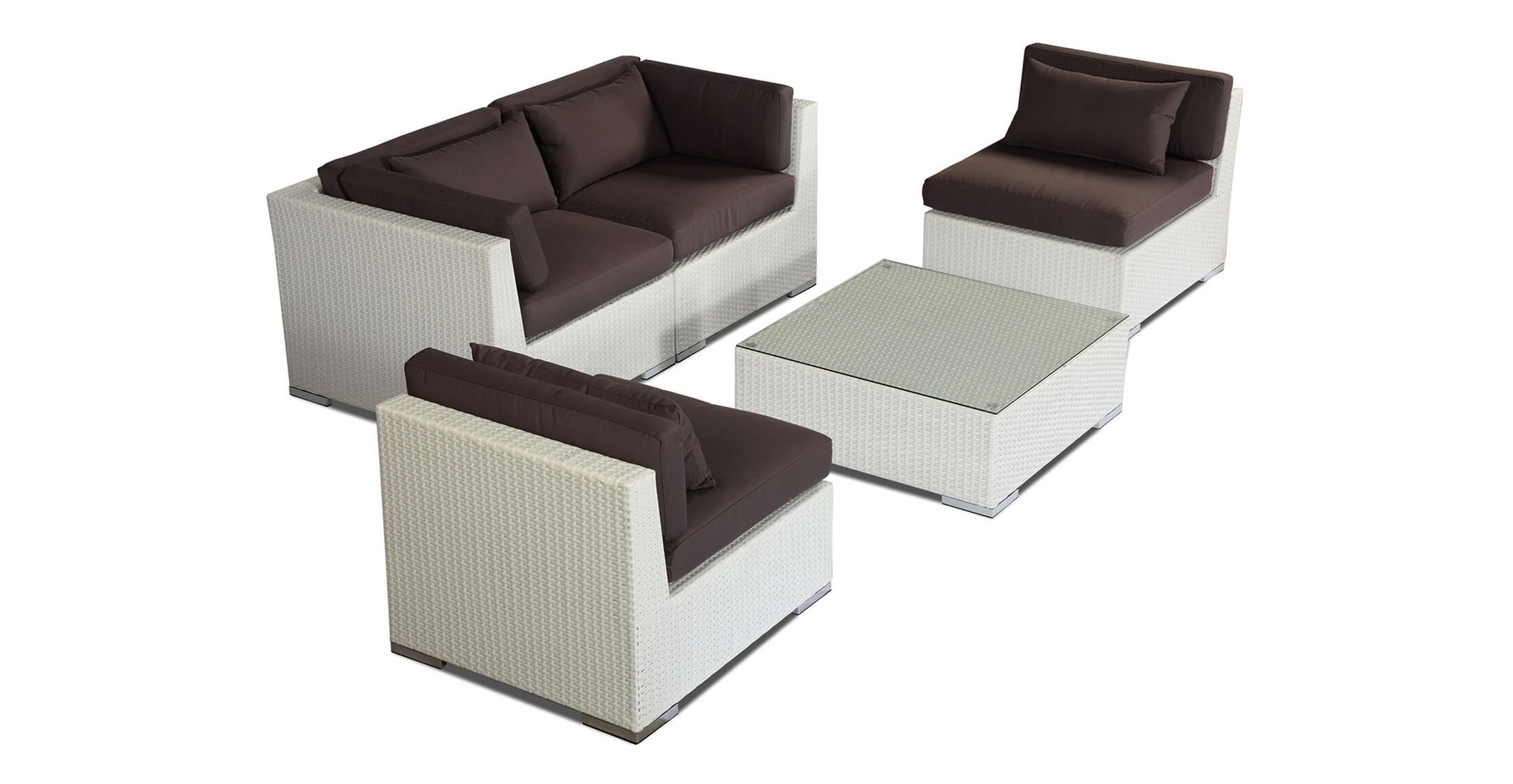 Kauna 5 Piece Sofa Set with Cushions Fabric: Graphite, Color: White
