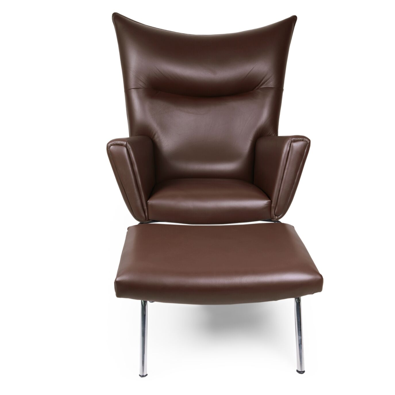 Wingback Chair & Ottoman Upholstery: Choco Brown