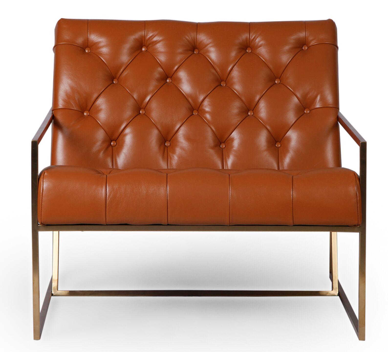 Callington Mid Century Modern Armchair Upholstery Color: Caramel, Leg Color: Gold Metal