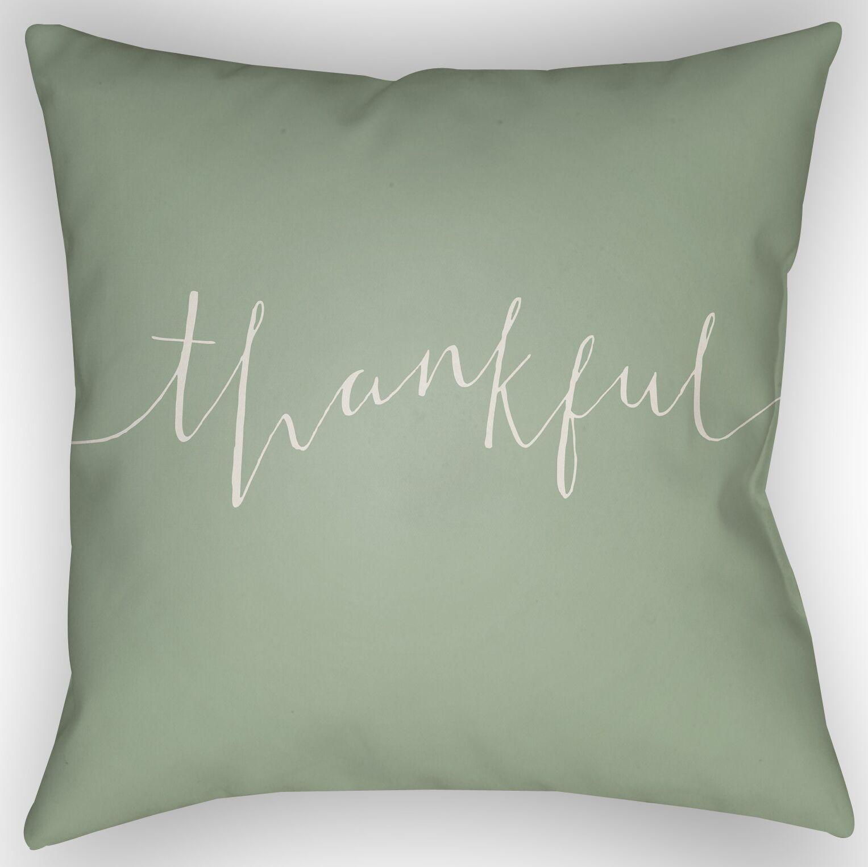 Thankful Indoor/Outdoor Throw Pillow Size: 20