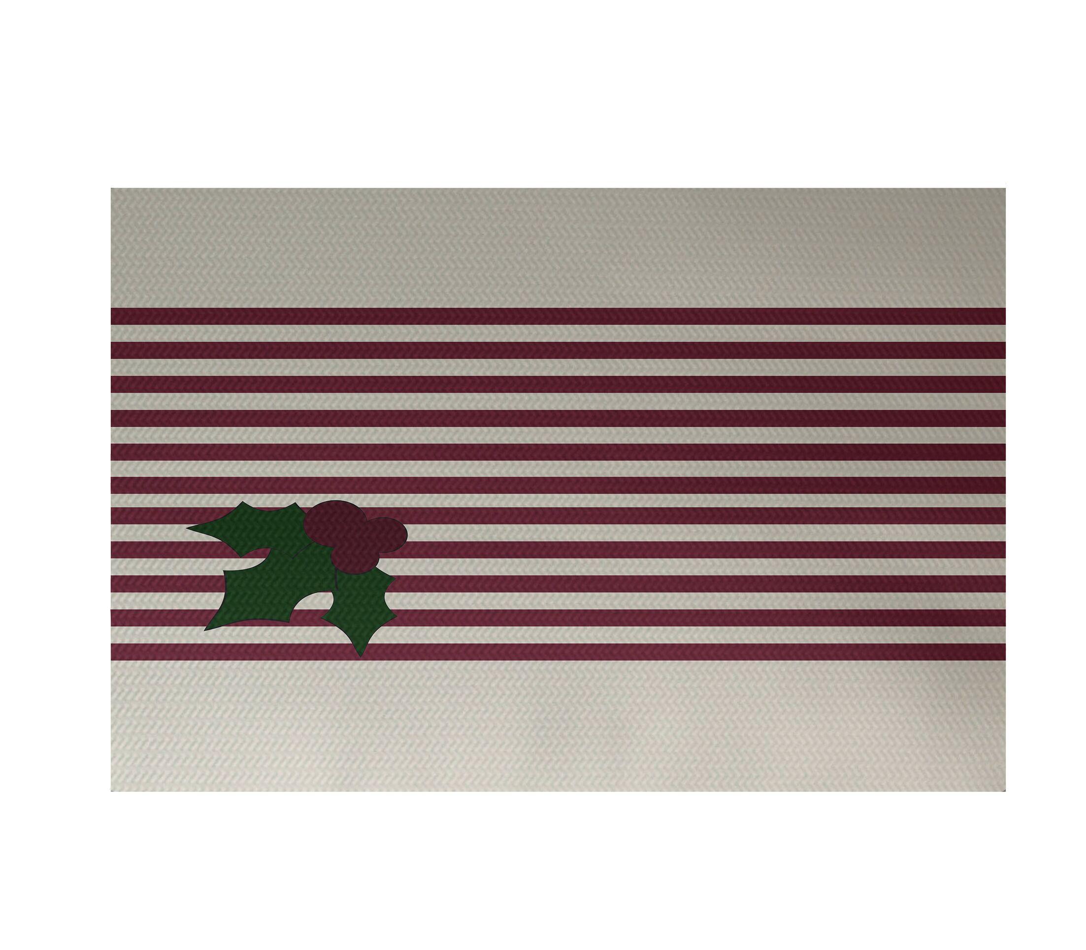 Area Rugs Holly Stripe Decorative Holiday Stripe Print
