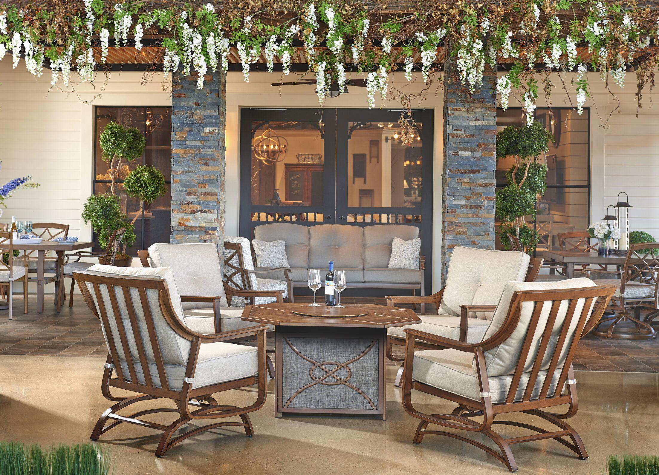 5 Piece Sunbrella Conversation Set with Cushions Fabric: Espadrille Driftwood
