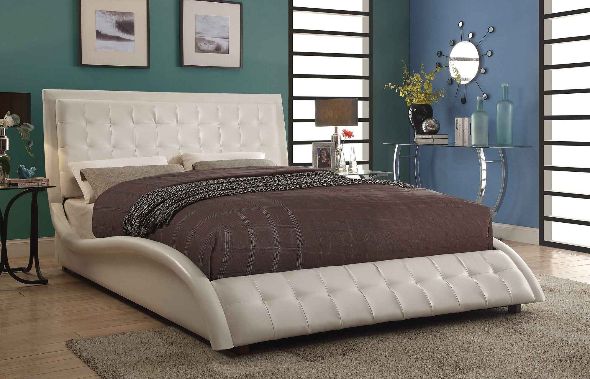 Onderdonk Upholstered Panel Bed Size: Eastern King, Color: White