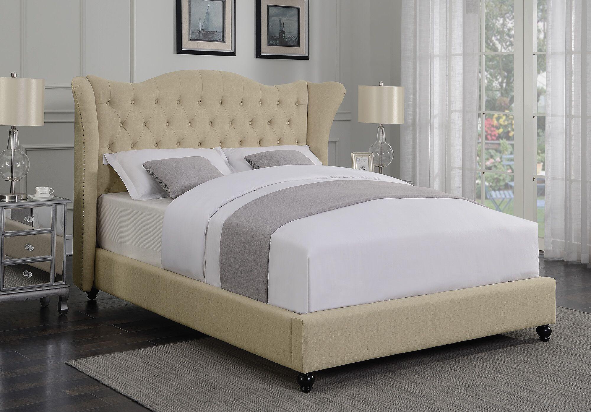 Greig Upholstered Panel Bed Size: Full, Color: Beige