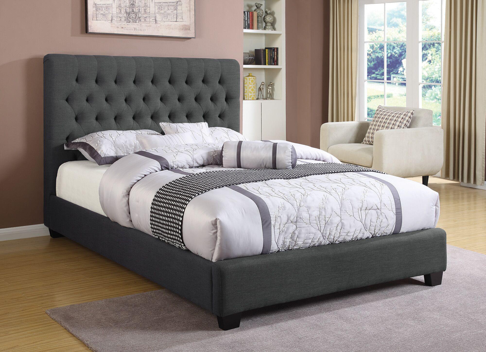 Christen Upholstered Panel Bed Size: Eastern King, Color: Charcoal