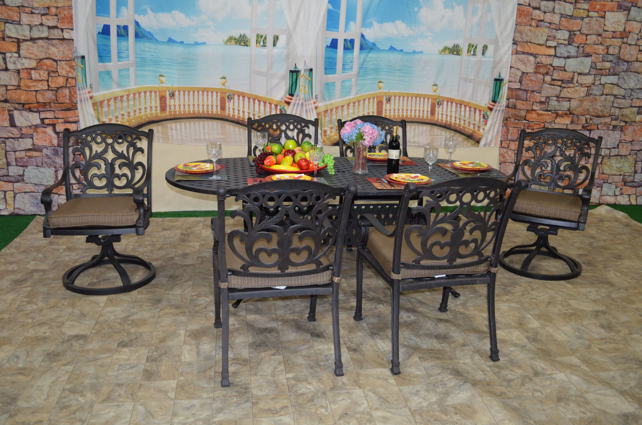Pyxis 7 Piece Sunbrella Dining Set with Cushions Cushion Color: Walnut