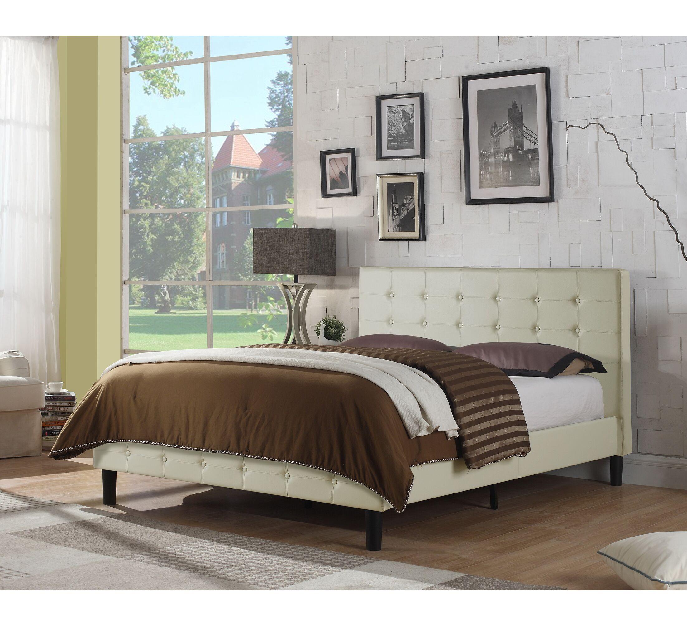 Hankins Upholstered Platform Bed Color: Ivory, Size: Twin