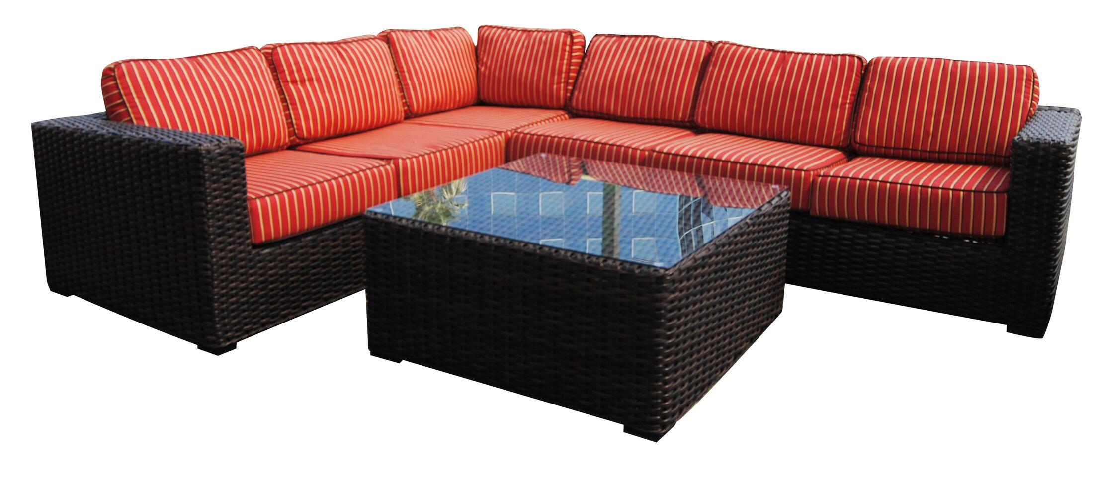 Santa Monica 5 piece Sunbrella Sectional Set with Cushions Fabric: Straw Linen