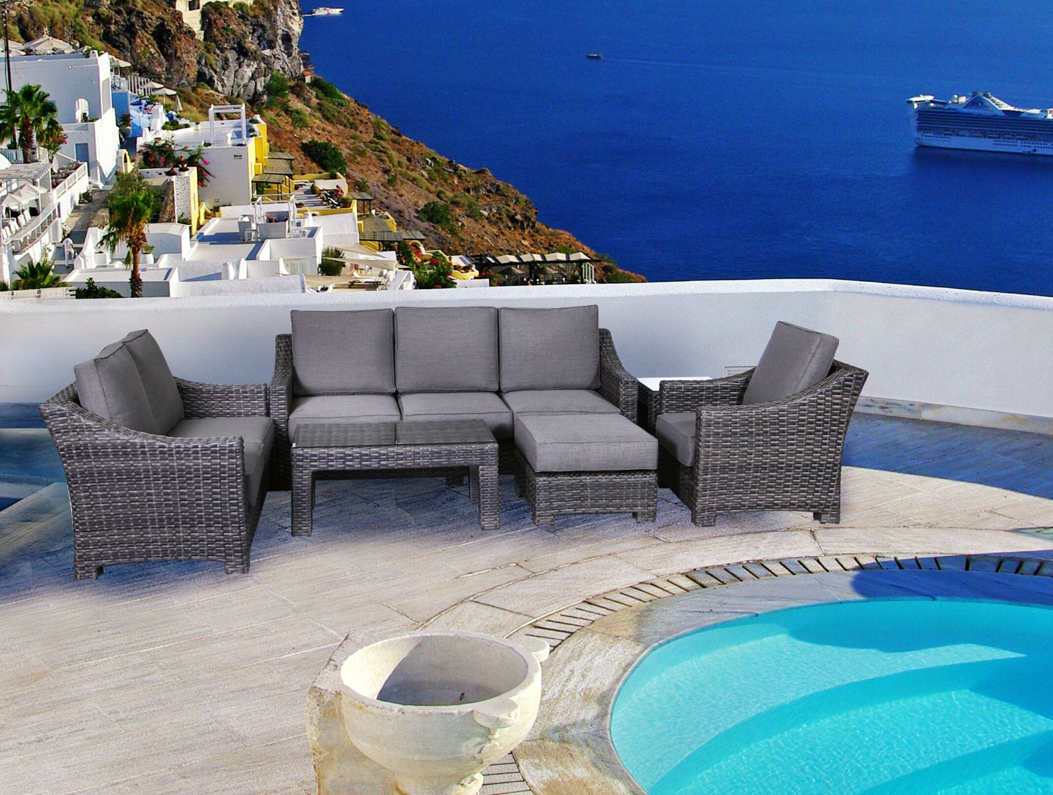 Donley 4 Piece Sofa Set with Cushions