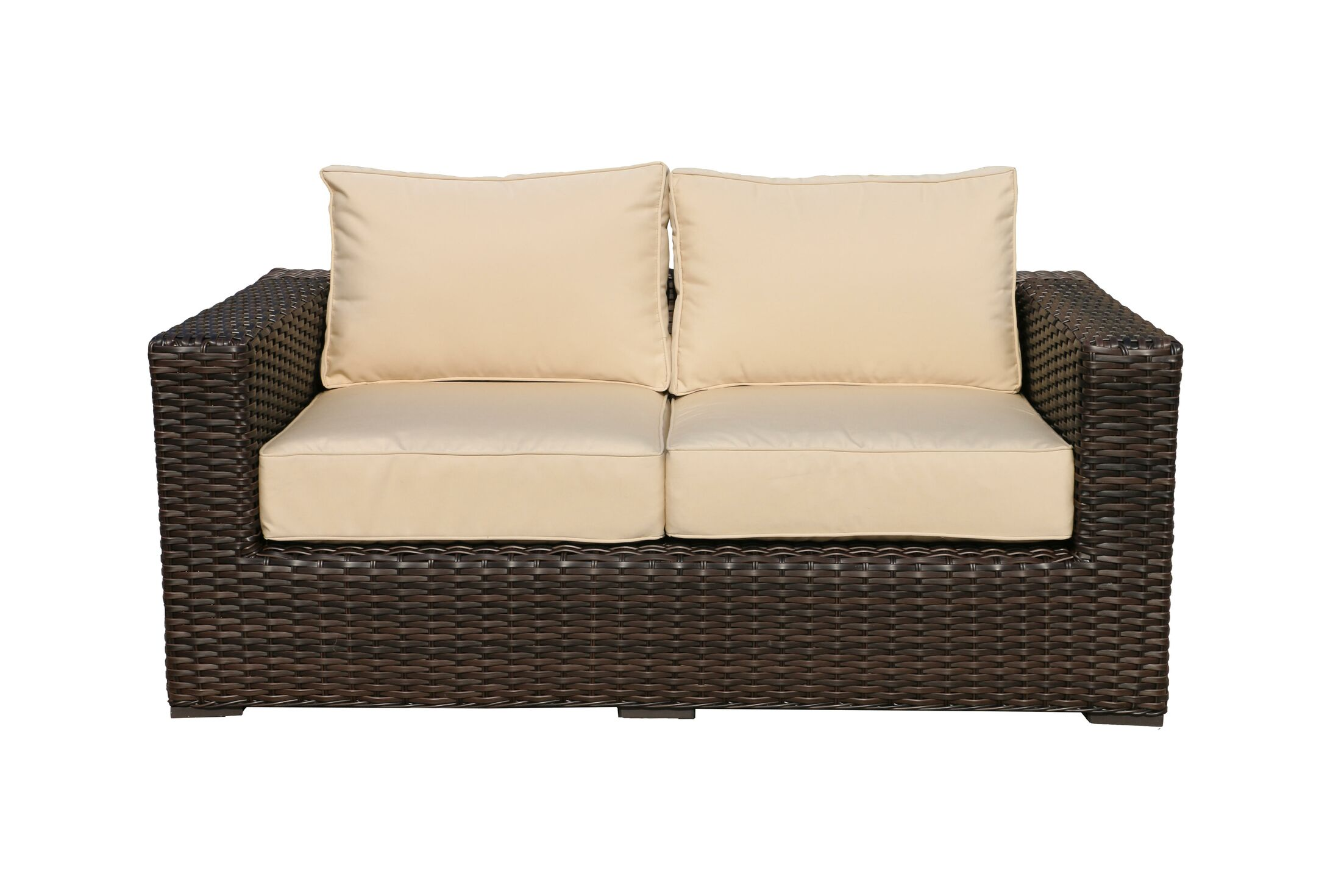 Santa Monica Loveseat with Cushions Fabric: Beige