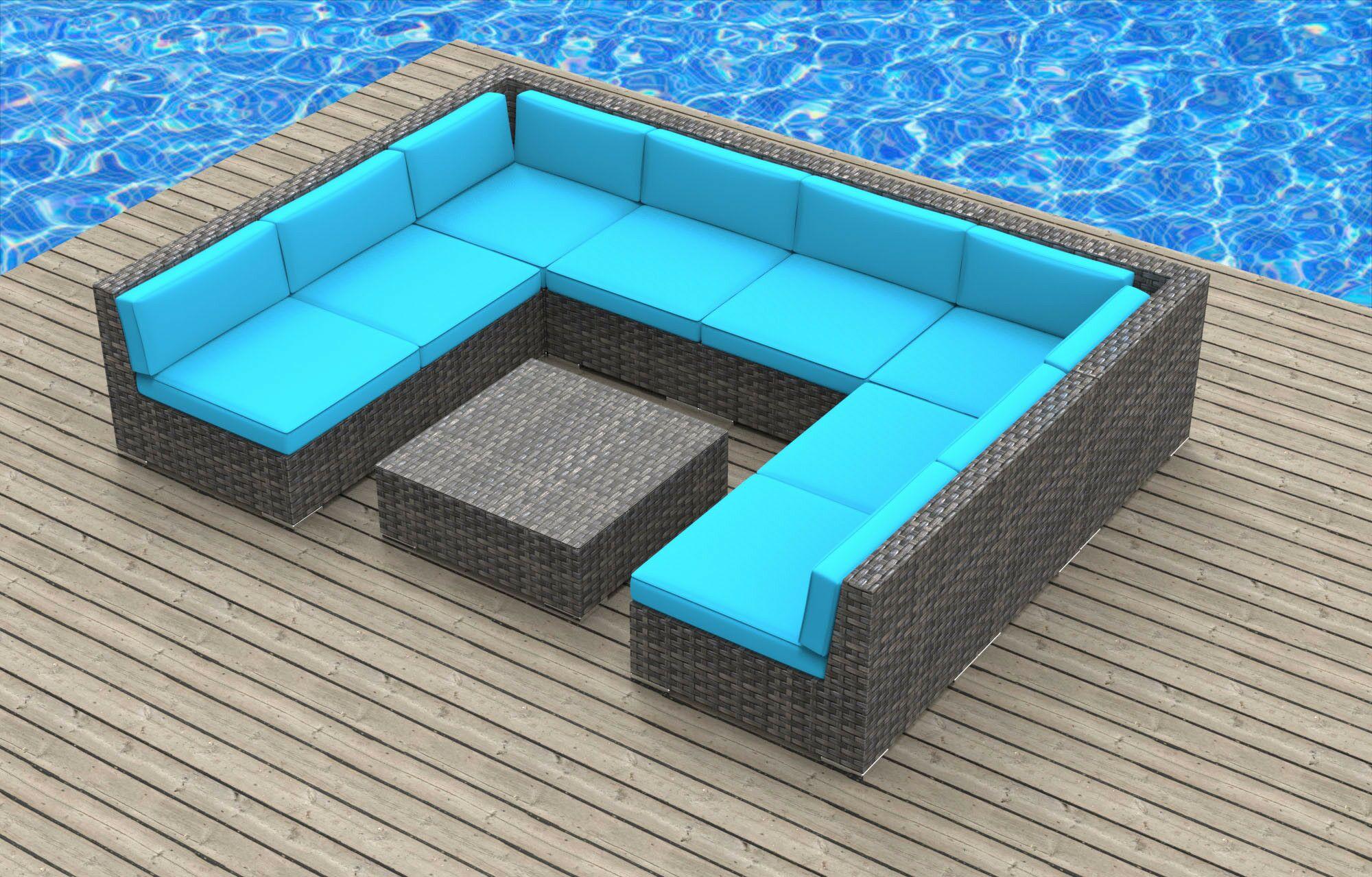 Tahiti 9 Piece Sectional Set with Cushions Fabric: Sea Blue